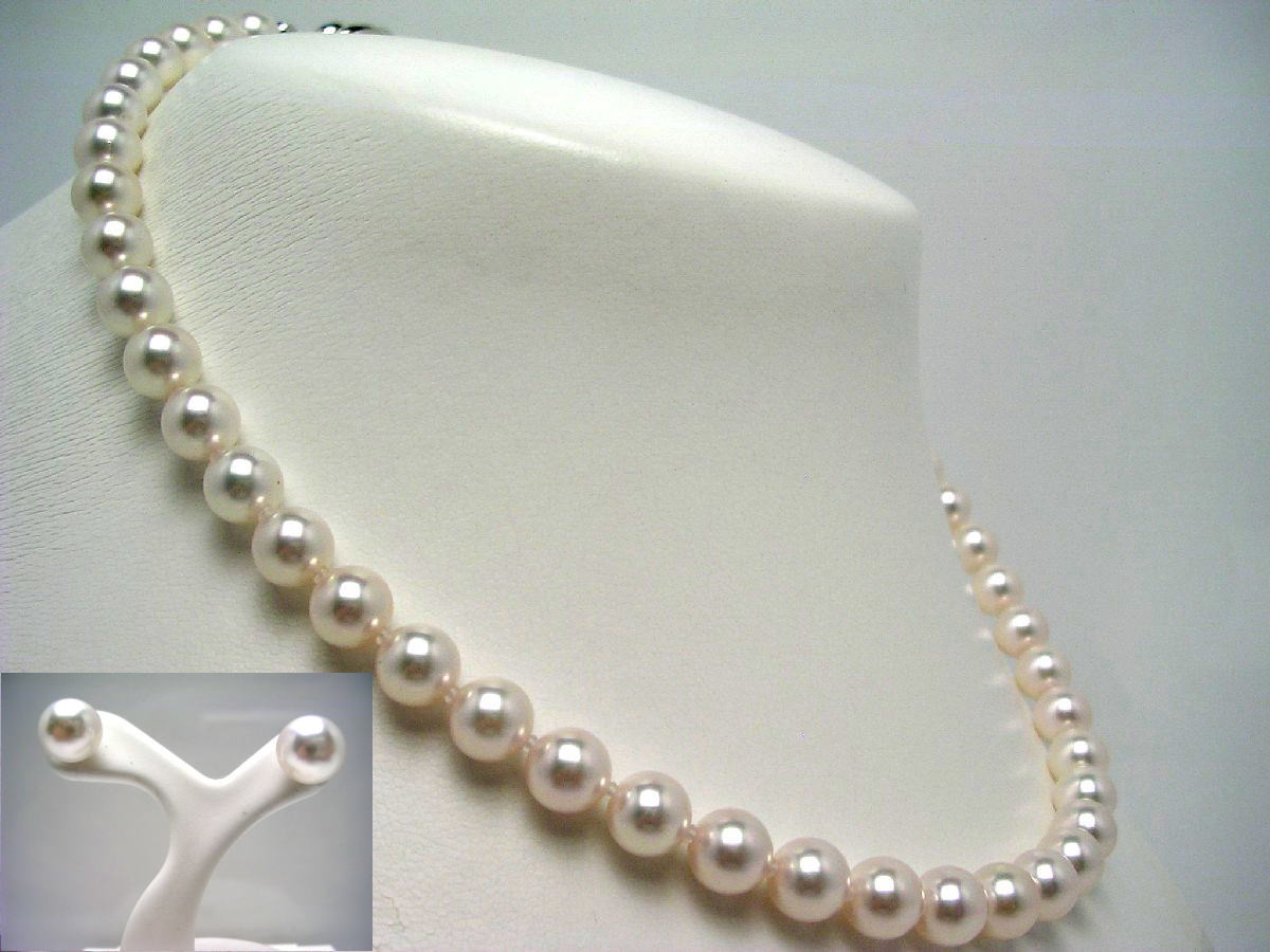 真珠 ネックレス パール 母の日 アコヤ真珠 ピアス セット 7.5-8.0mm ホワイトピンク シルバー クラスップ 58011 イソワパール