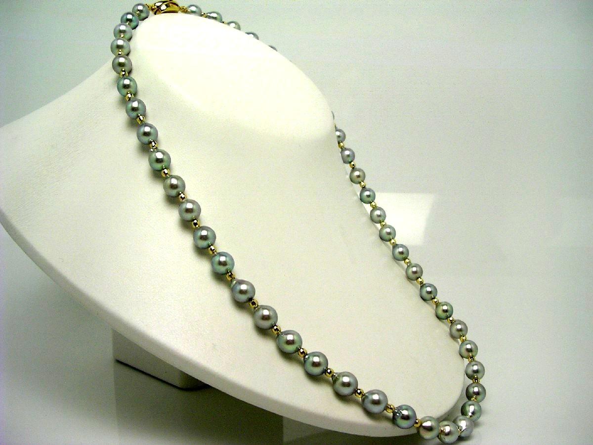 真珠 ネックレス パール アコヤ真珠 セミロング 7.5-8.0mm シルバーブルー シルバー クラスップ 60029 イソワパール