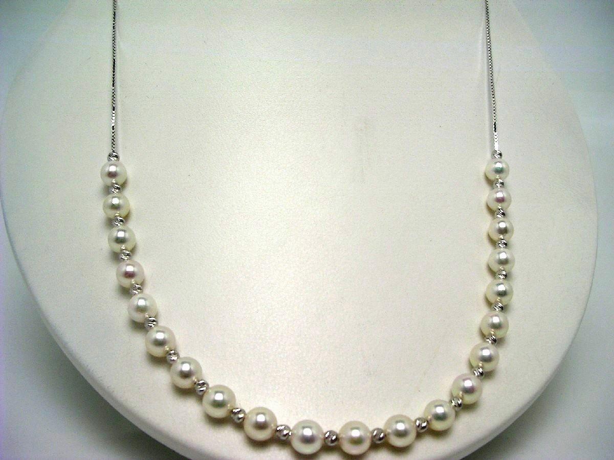 真珠 ネックレス パール アコヤ真珠 チェーン 6-6.5mm ホワイトピンク シルバー スライドチェーン 60193 イソワパール