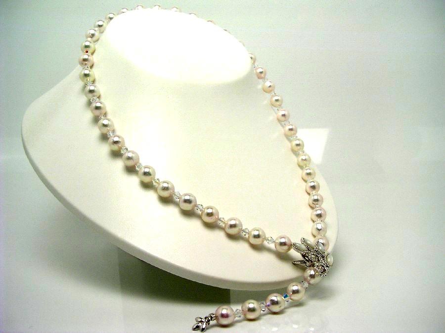 真珠 ネックレス パール アコヤ真珠 セミロング 8.5-9mm ホワイトピンク シルバー クリッカー シェル 60349 イソワパール