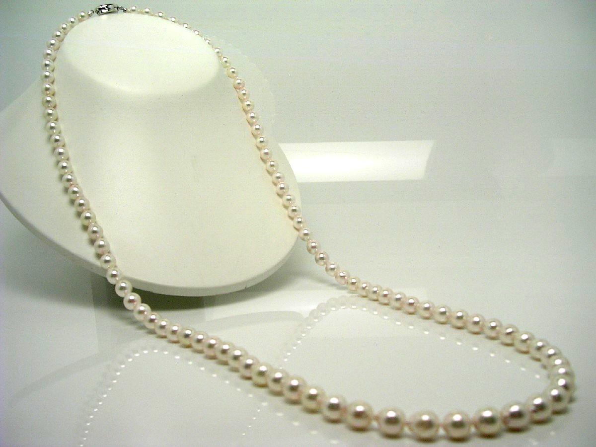 真珠 ネックレス パール アコヤ真珠 セミロング 7.5-8.0mm ホワイトピンク シルバー クラスップ 62427 イソワパール