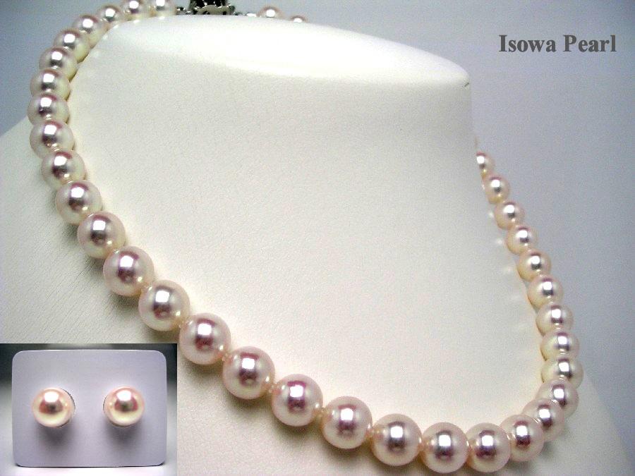 【10%OFF】真珠 ネックレス パール 花珠 アコヤ真珠 イヤリング or ピアス セット 9.0-9.5mm ホワイトピンク K14 ホワイトゴールド クラスップ 64508 イソワパール