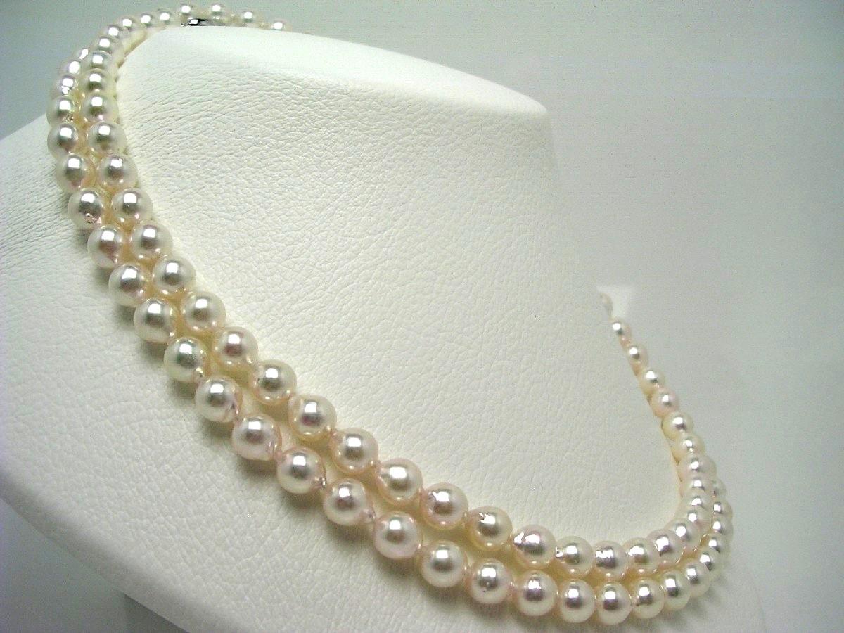 真珠 ネックレス パール アコヤ真珠 セミロング 7.5-8.0mm ホワイトピンク シルバー クラスップ 64513 イソワパール