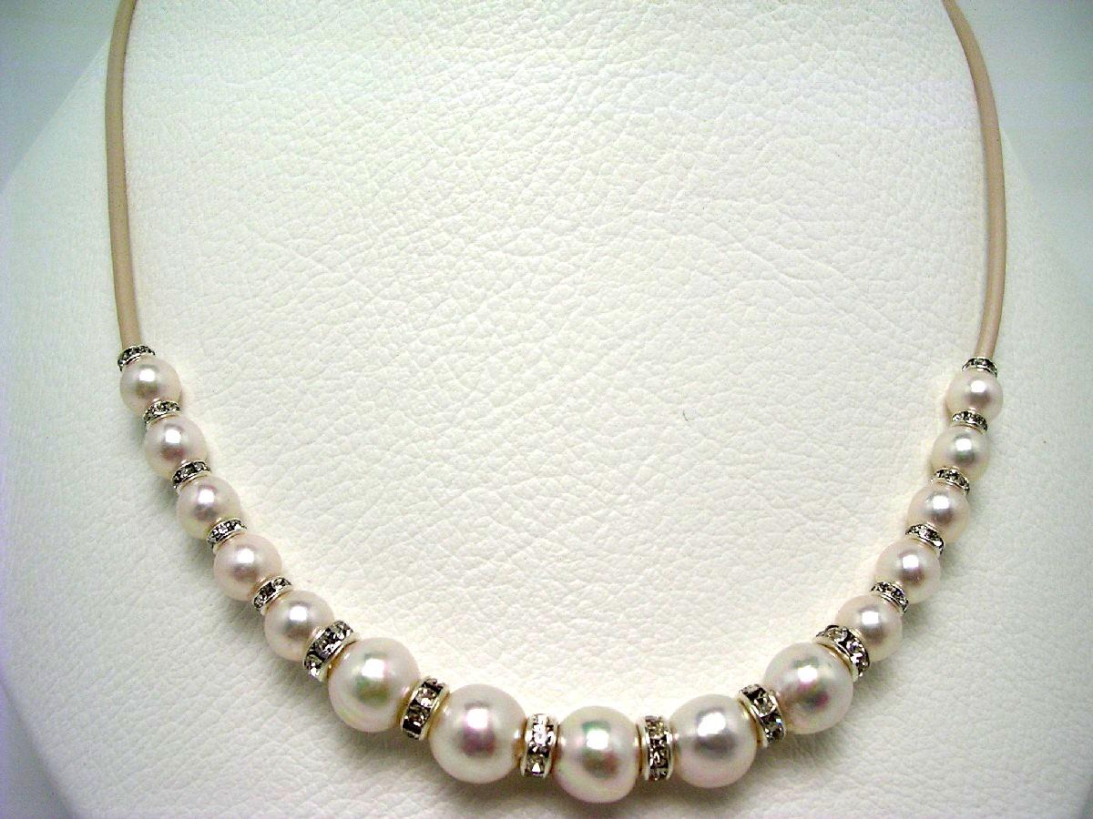 真珠 ネックレス パール アコヤ真珠 6.5-9.0mm ホワイトピンク マグネット クラスップ 64604 イソワパール