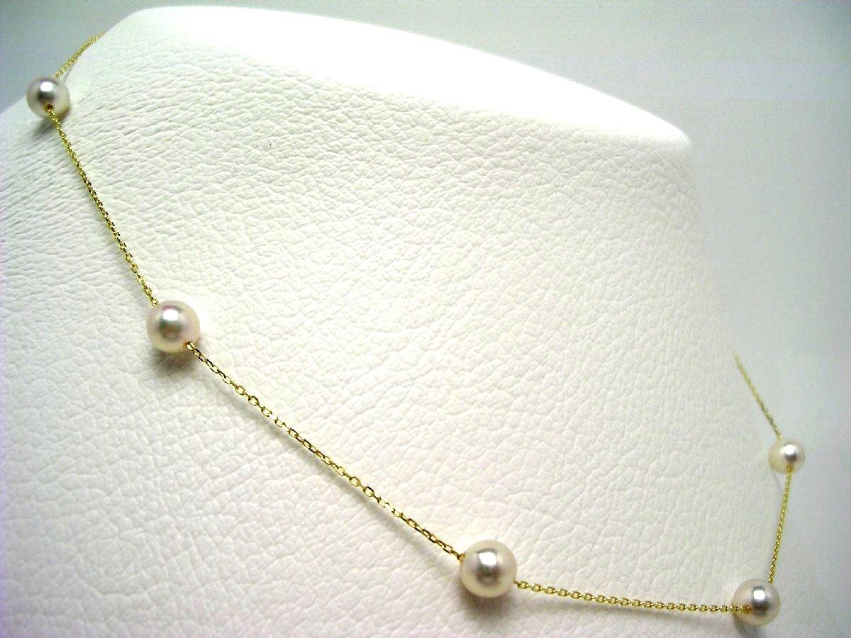 真珠 ネックレス パール アコヤ真珠 ステーション 5.5-6.0mm ホワイトピンク K18 イエローゴールド チェーン 64972 イソワパール