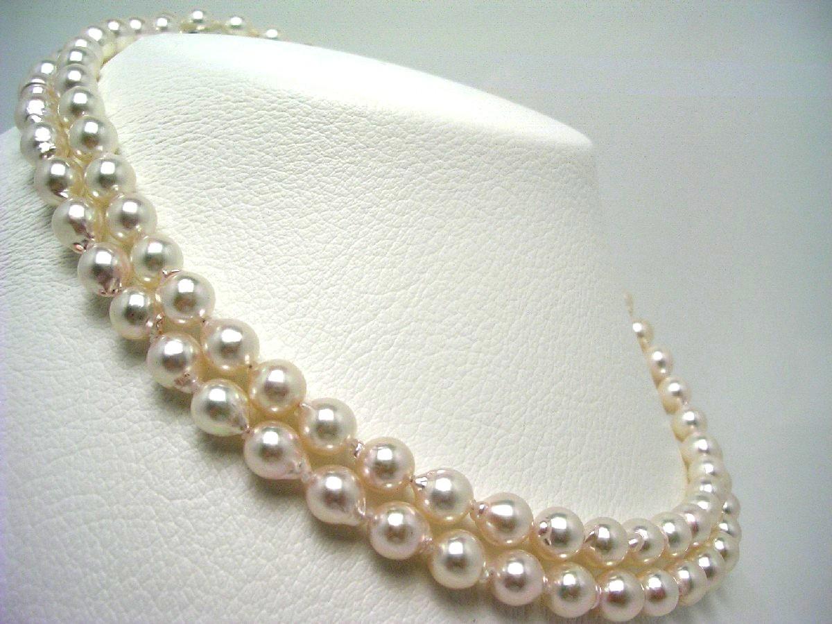真珠 ネックレス パール アコヤ真珠 セミロング 7.5-8.0mm ホワイトピンク シルバー クラスップ 65135 イソワパール