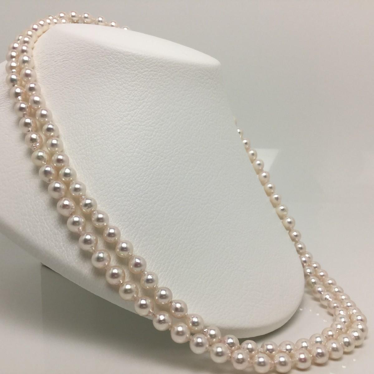 真珠 ネックレス パール アコヤ真珠 ロング 7.0-7.5mm ホワイトピンク シルバー クラスップ 65434 イソワパール