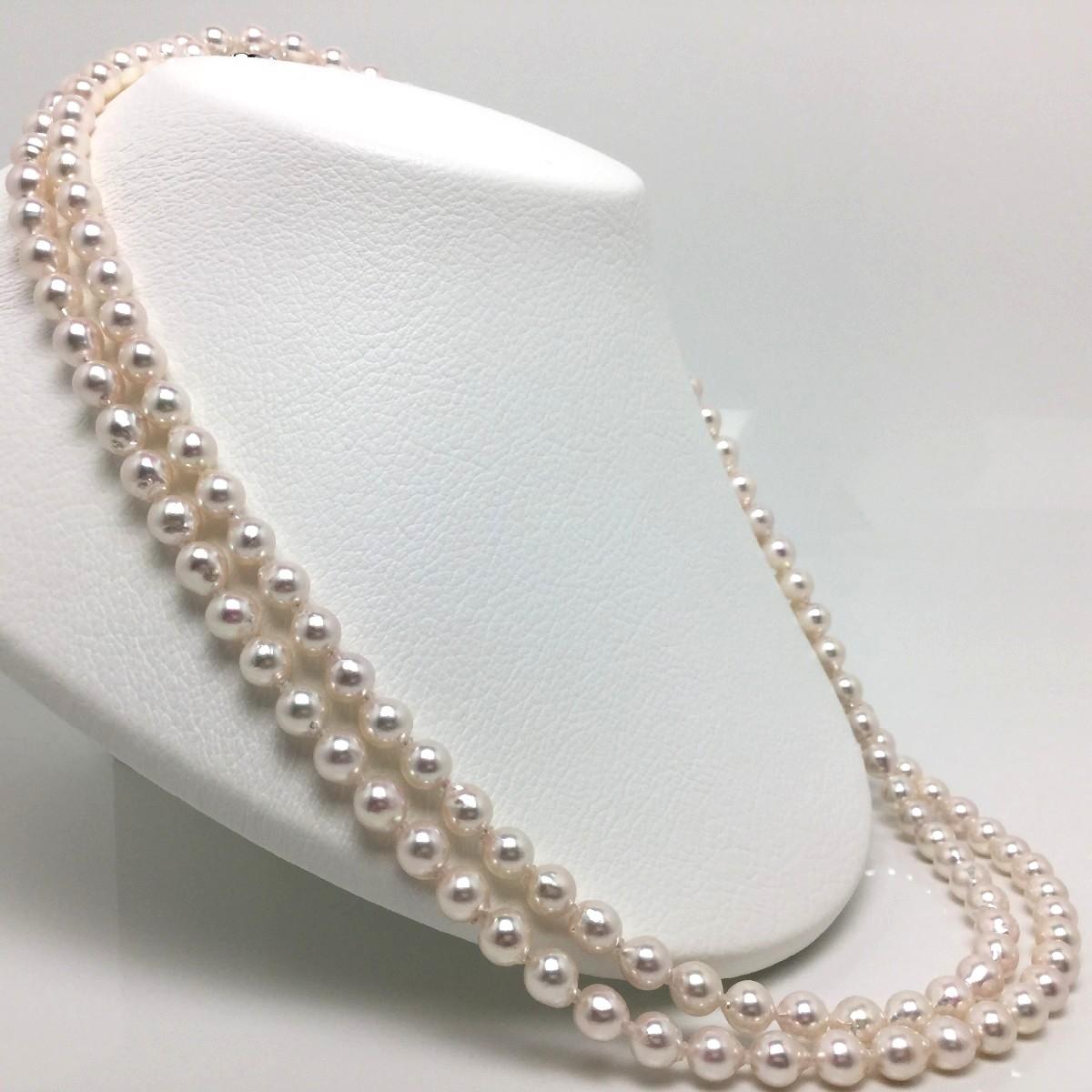 真珠 ネックレス パール アコヤ真珠 ロング 7.0-7.5mm ホワイトピンク シルバー クラスップ 65435 イソワパール