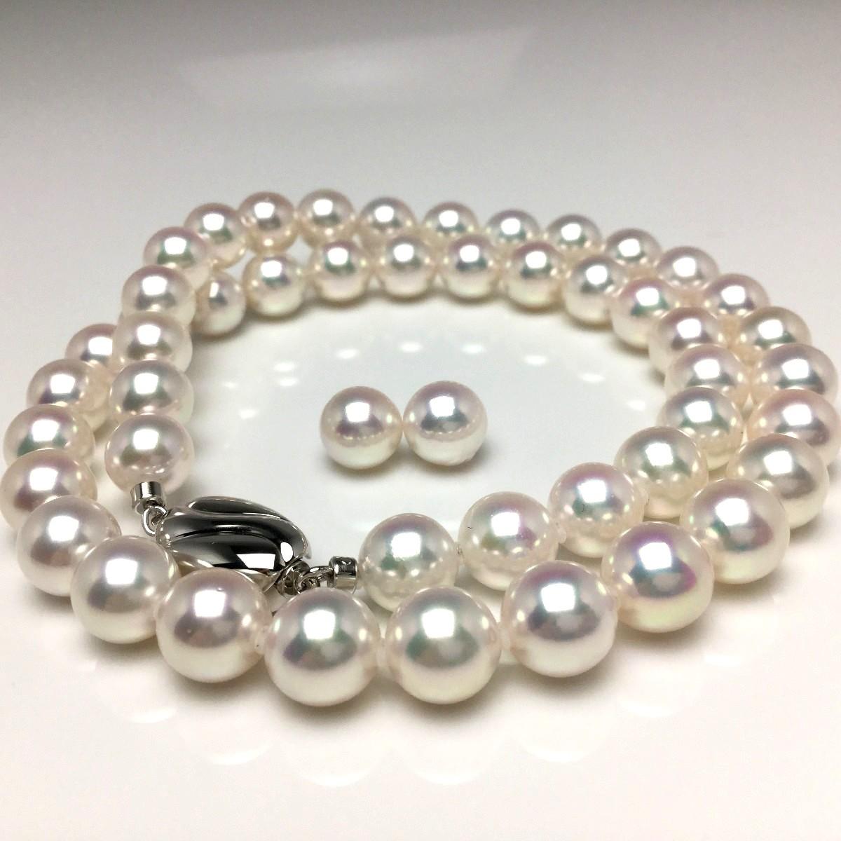 真珠 ネックレス パール オーロラ・天女 アコヤ真珠 イヤリング or ピアス セット 8.0-8.5mm ホワイト系ホワイトピンク シルバー クラスップ 66055 イソワパール