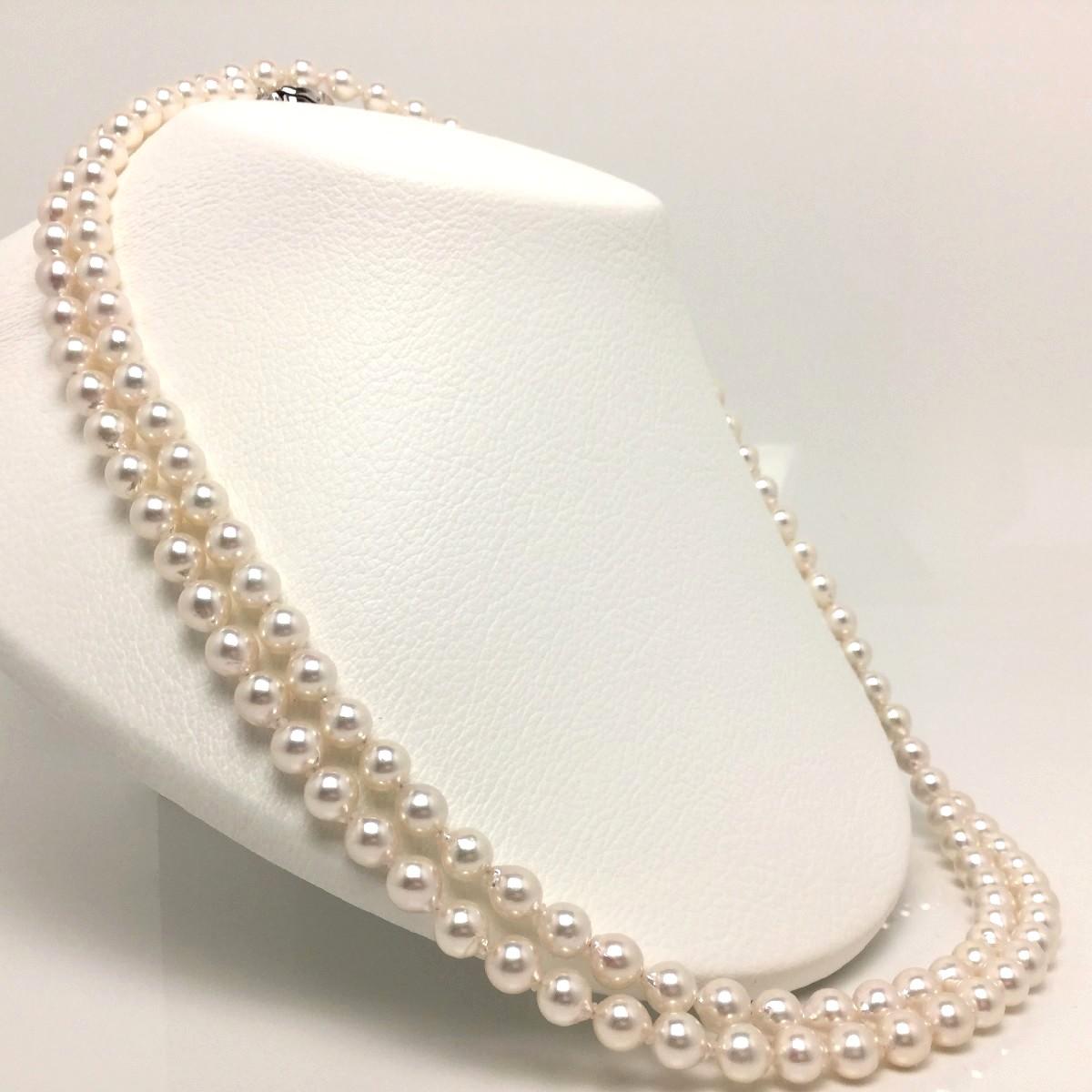 【10%OFF】真珠 ネックレス パール アコヤ真珠 ロング 7.0-7.5mm ホワイトピンク シルバー クラスップ 66064 イソワパール