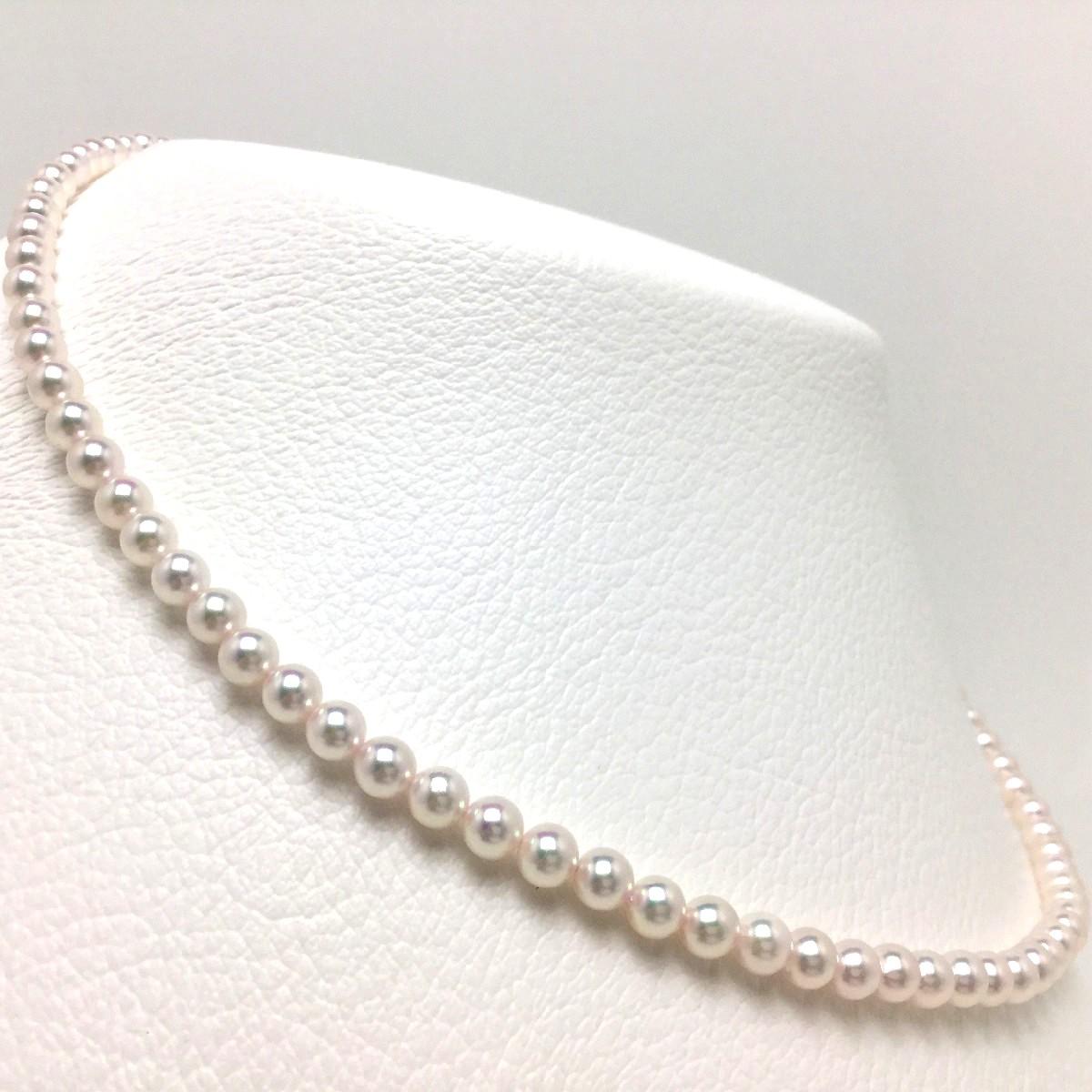 真珠 ネックレス パール 花珠 アコヤ真珠 4.5-5.0mm ホワイトピンク シルバー クラスップ 66441 イソワパール