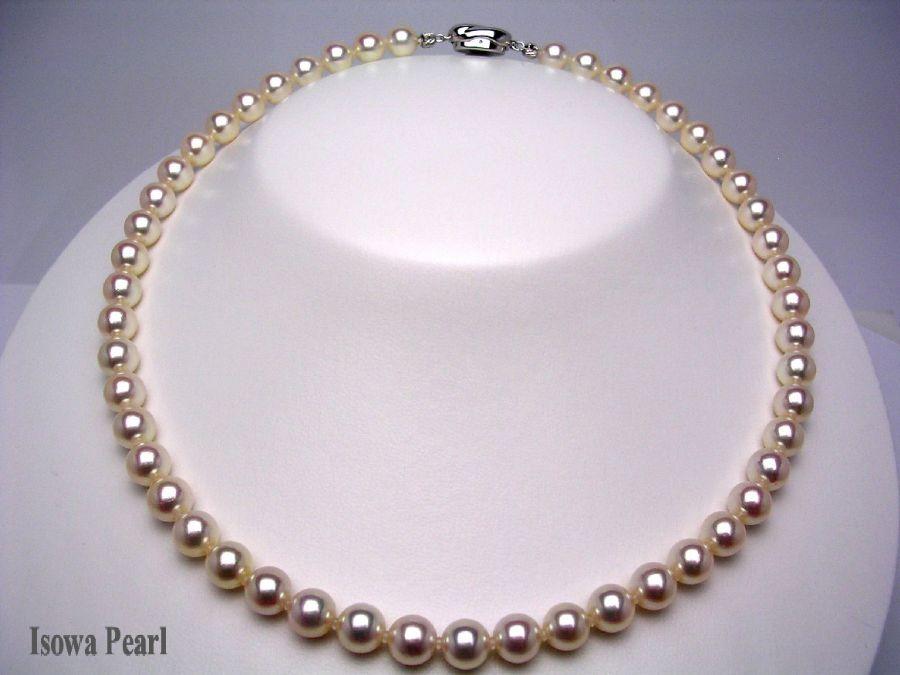 真珠 ネックレス パール 花珠範疇 アコヤ真珠 7.5-8mm ホワイトピンク シルバー クラスップ 8298 イソワパール