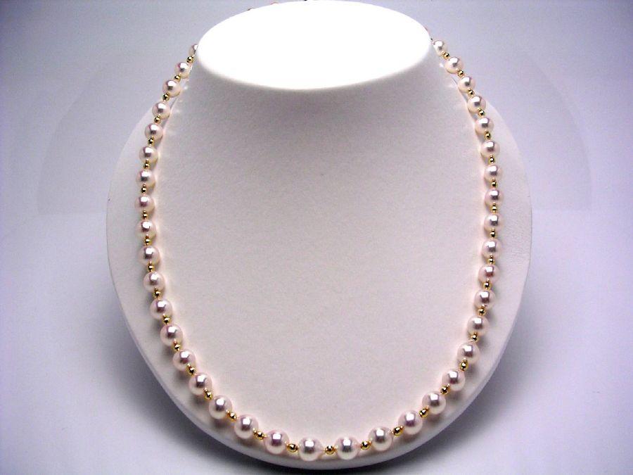 【10%OFF】真珠 ネックレス パール アコヤ真珠 ミラーボール 7.5-8.0mm ホワイトピンク シルバー クラスップ 9494 イソワパール