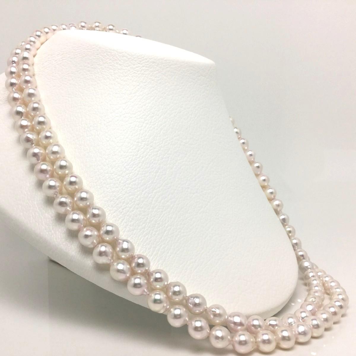 真珠 ネックレス パール アコヤ真珠 ロング 8.0-8.5mm ホワイトピンク シルバー クラスップ 66198 イソワパール