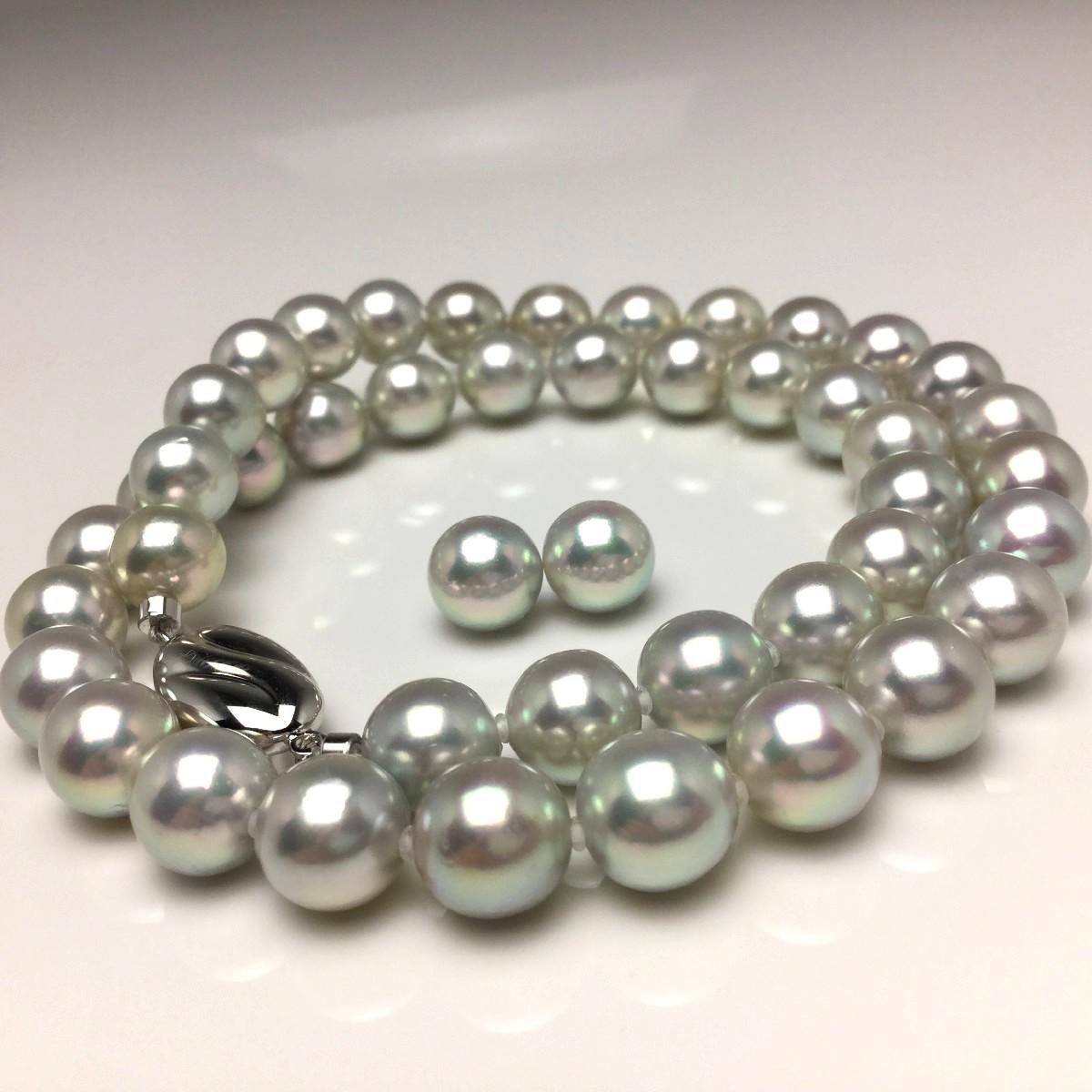 真珠 ネックレス パール アコヤ真珠 イヤリング or ピアス セット 8.5-9.0mm ホワイトシルバーブルー(ナチュラル) シルバー クラスップ 66573 イソワパール