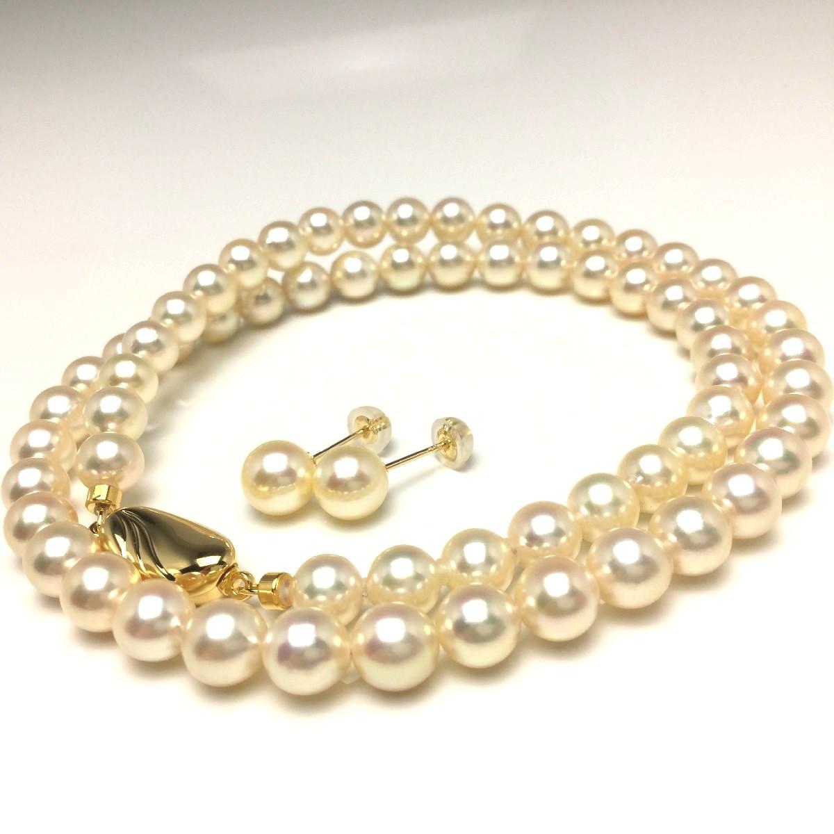 真珠 ネックレス パール アコヤ真珠 イヤリング or ピアス セット 6.0-6.5mm ライトゴールド シルバー クラスップ 66659 イソワパール