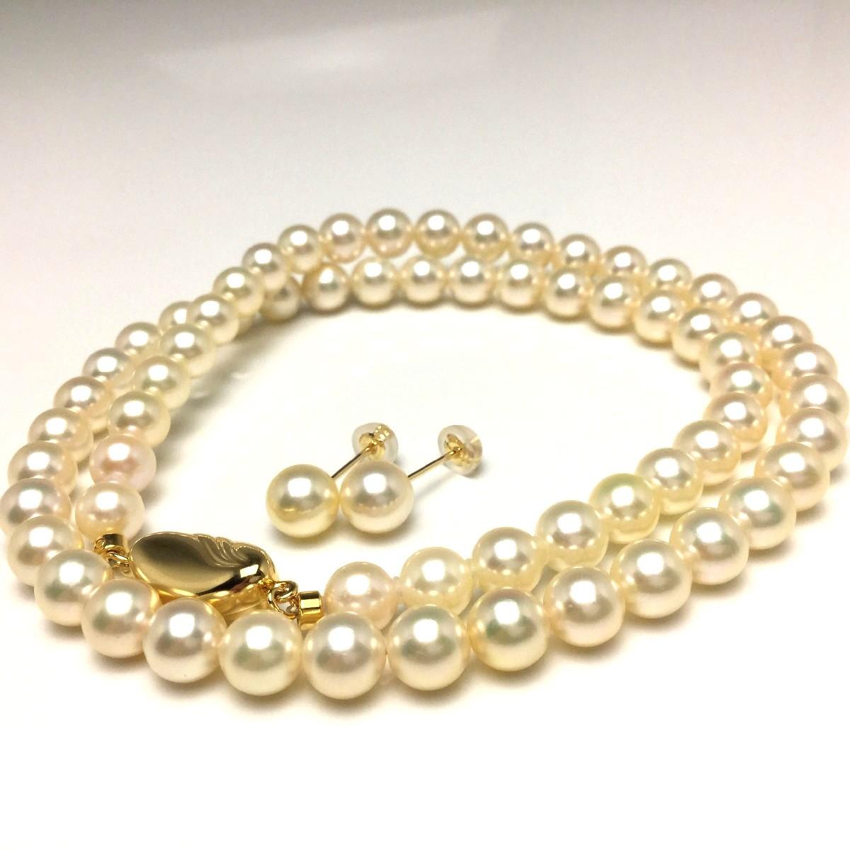 真珠 ネックレス パール アコヤ真珠 イヤリング or ピアス セット 6.0-6.5mm ライトゴールド シルバー クラスップ 66660 イソワパール