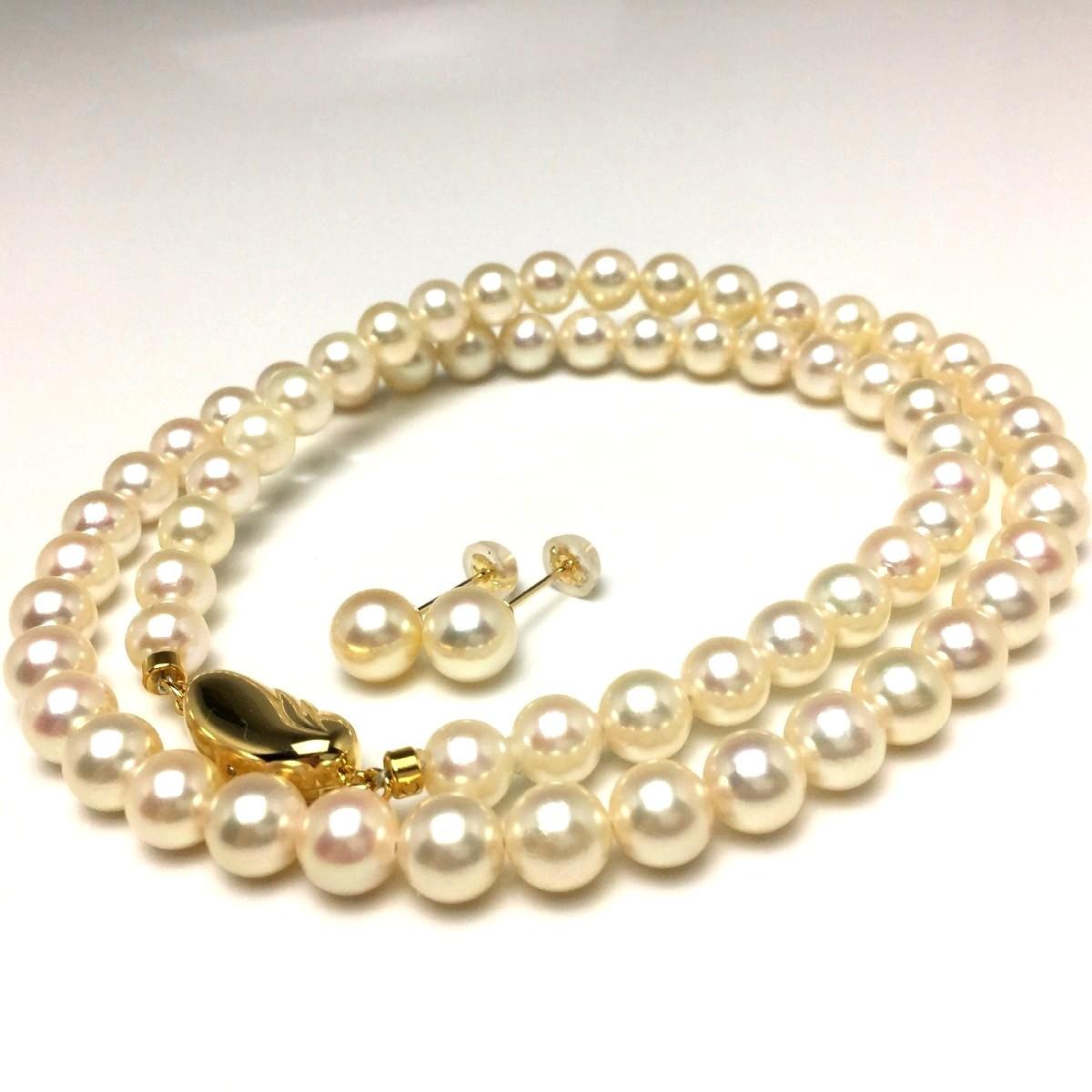 真珠 ネックレス パール アコヤ真珠 イヤリング or ピアス セット 6.0-6.5mm ライトゴールド シルバー クラスップ 66661 イソワパール