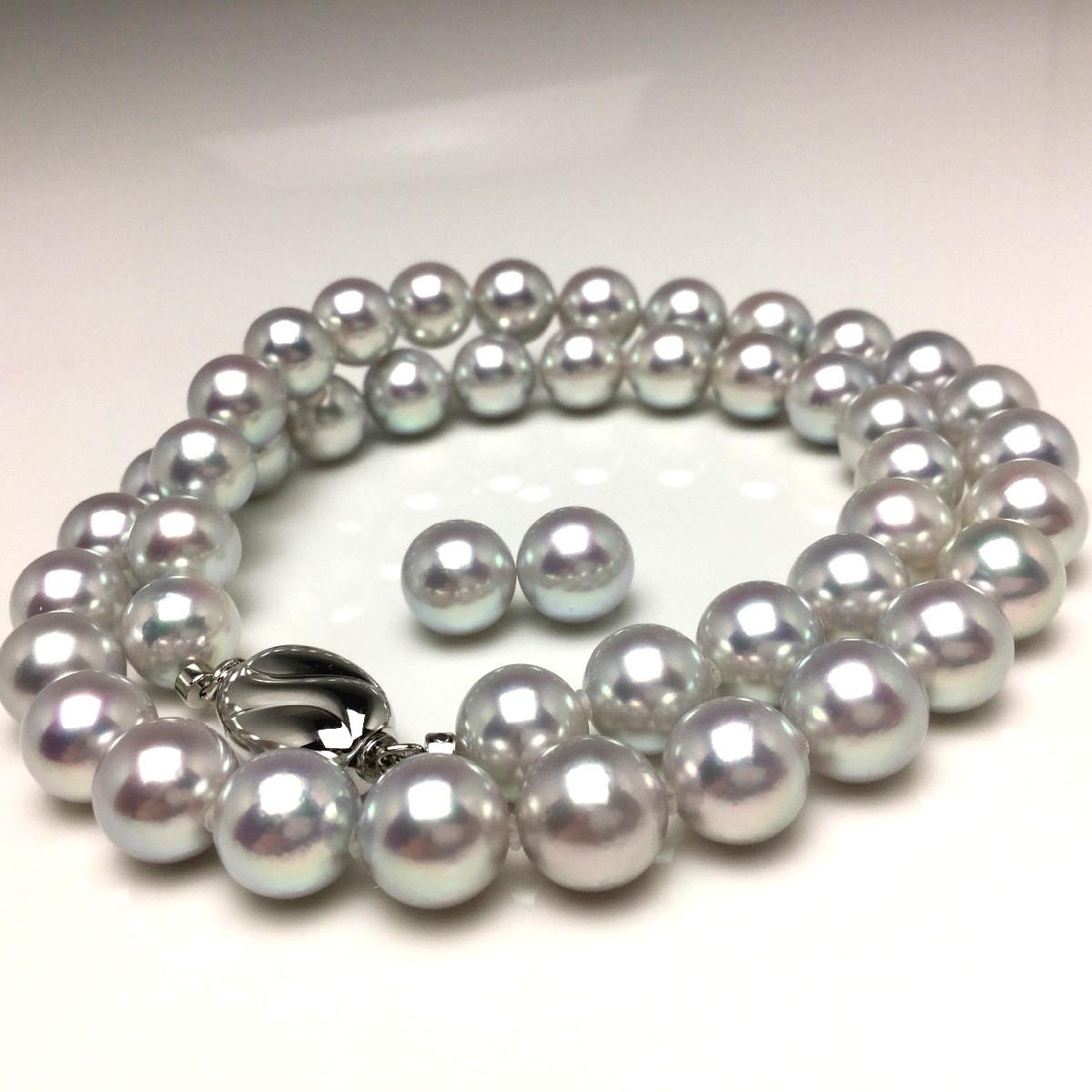 真珠 ネックレス パール オーロラ・真多麻 アコヤ真珠 イヤリング or ピアス セット 8.5-9.0mm ホワイトシルバーブルー(ナチュラル) シルバー クラスップ 66732 イソワパール