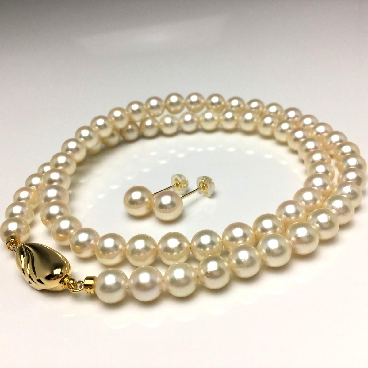 真珠 ネックレス パール アコヤ真珠 ピアス セット 6.0-6.5mm シャンパンゴールド シルバー クラスップ 66952 イソワパール