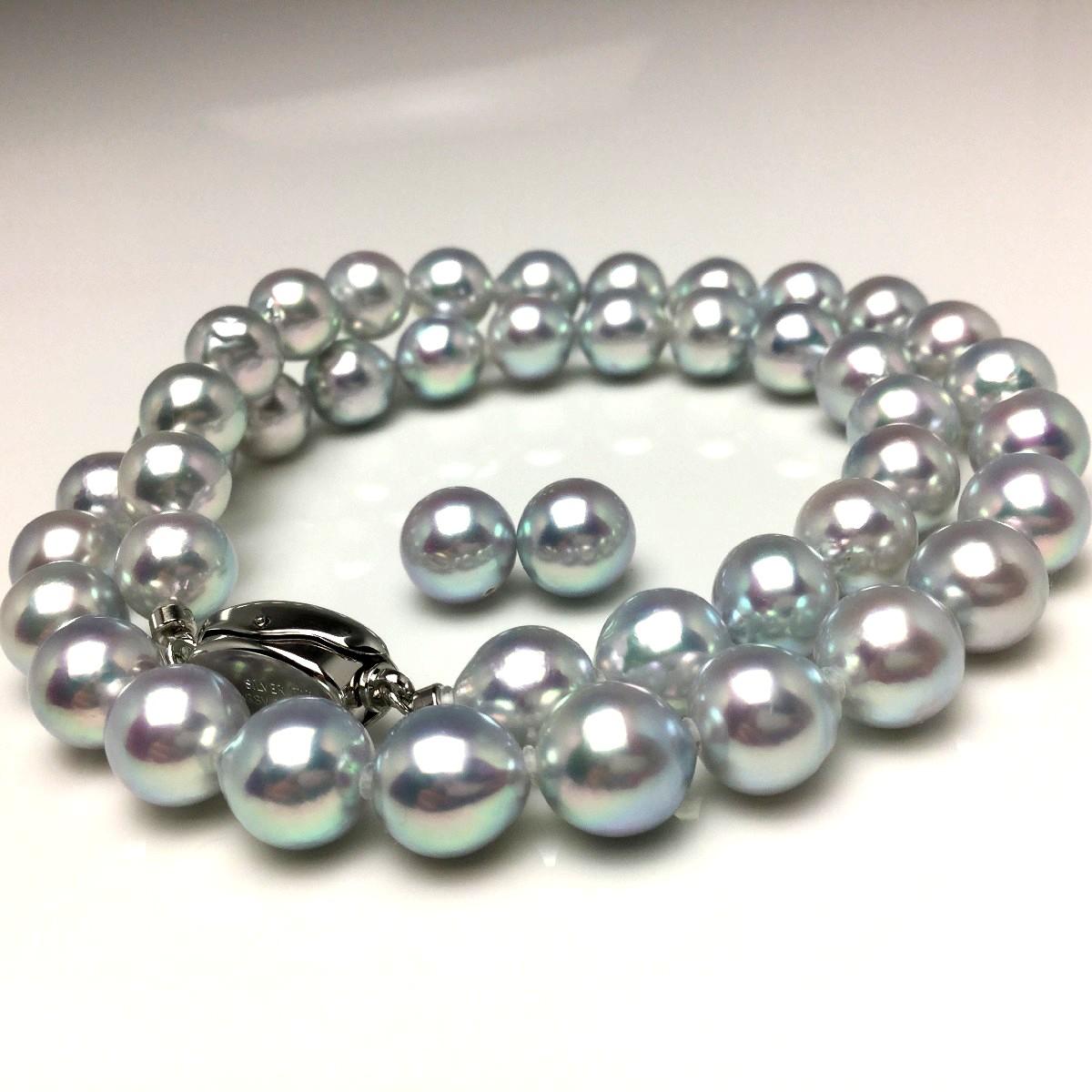 【10%OFF】真珠 ネックレス パール ナチュラルカラー アコヤ真珠 イヤリング or ピアス セット 8.5-9.0mm シルバーブルー(ナチュラル) シルバー クラスップ 67017 イソワパール