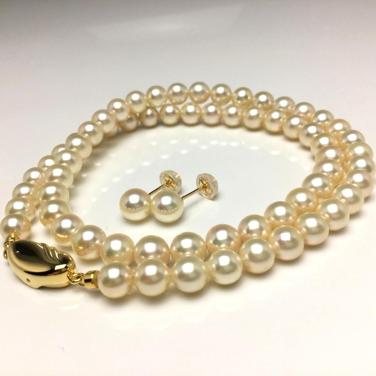 真珠 ネックレス パール アコヤ真珠 ピアス セット 6.0-6.5mm シャンパンゴールド シルバー クラスップ 67046 イソワパール