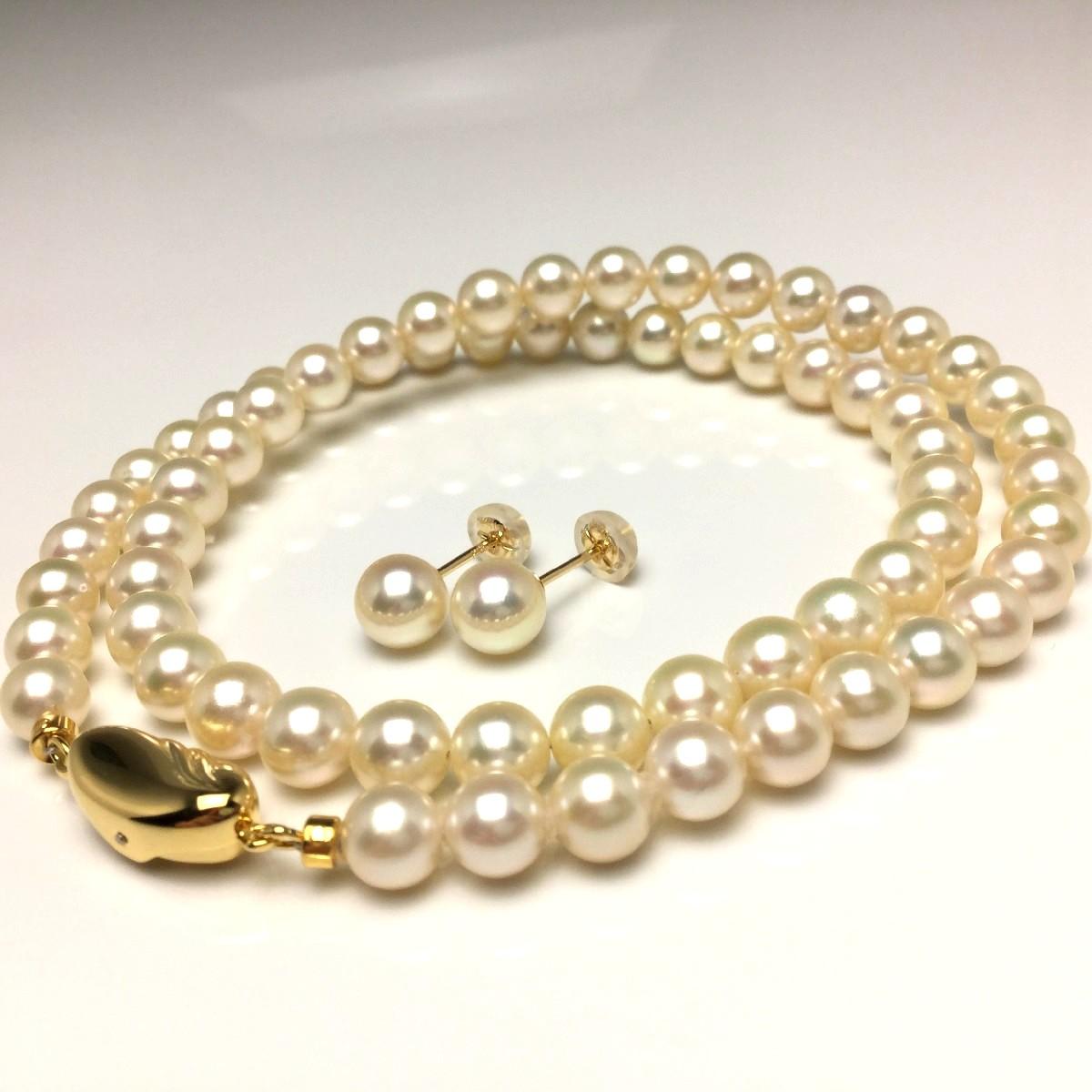 真珠 ネックレス パール アコヤ真珠 ピアス セット 6.0-6.5mm シャンパンゴールド シルバー クラスップ 67049 イソワパール