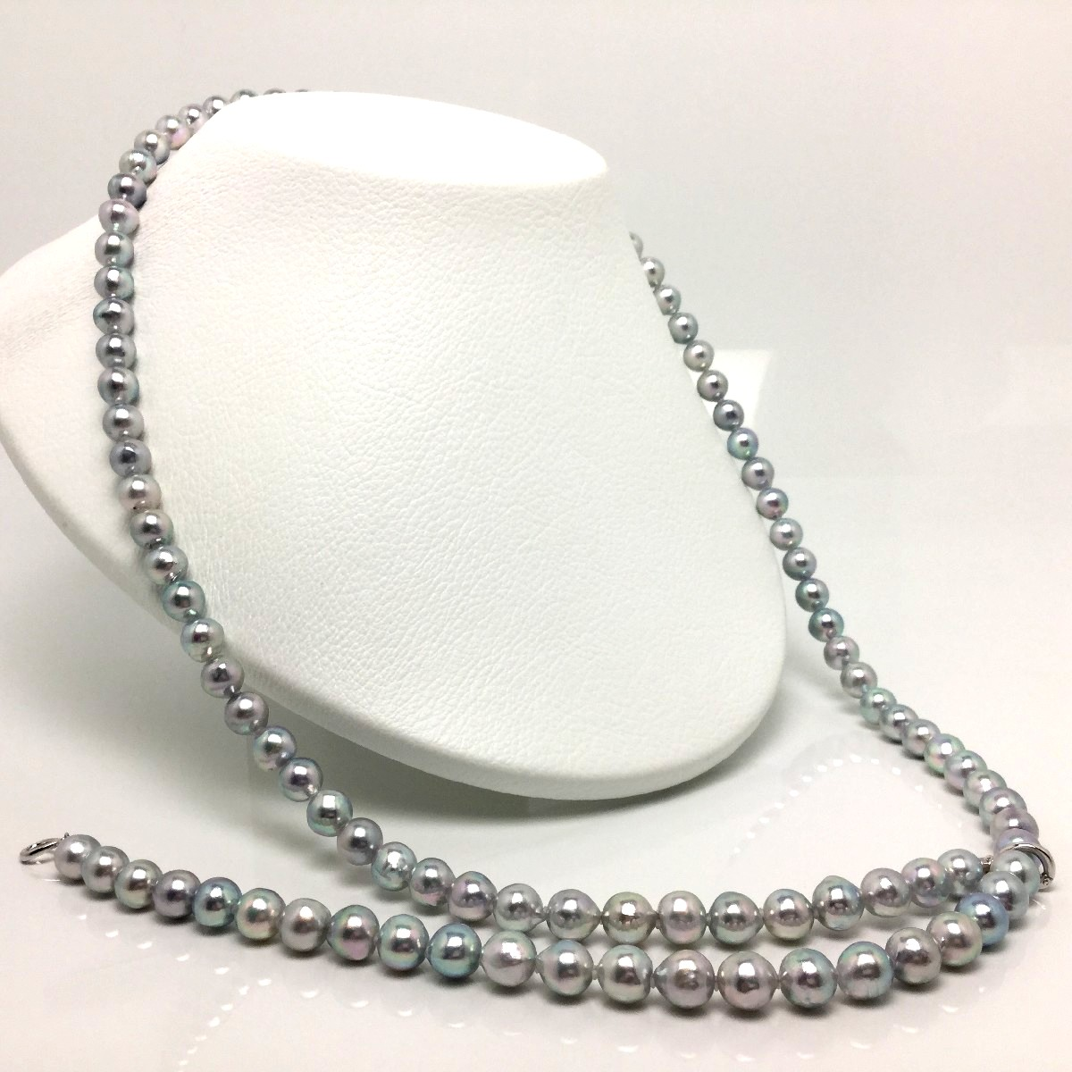 【10%OFF】真珠 ネックレス パール アコヤ真珠 セミロング 8.5-9.0mm シルバーブルー(ナチュラル) シルバー クリッカー 67058 イソワパール