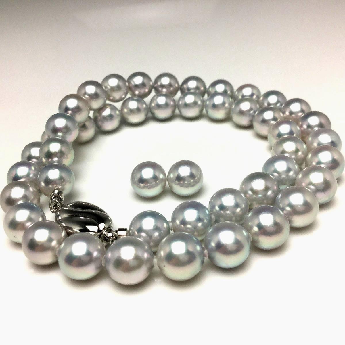 【10%OFF】真珠 ネックレス パール オーロラ・真多麻 アコヤ真珠 イヤリング or ピアス セット 8.5-9.0mm ホワイトシルバーブルー(ナチュラル) シルバー クラスップ 67060 イソワパール