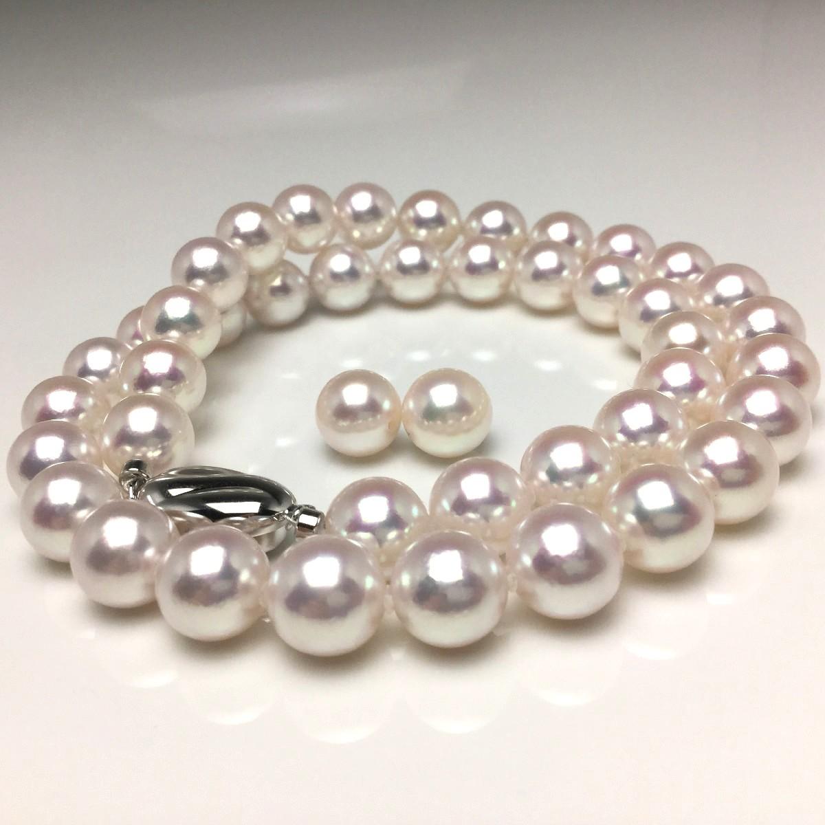 真珠 ネックレス パール オーロラ・花珠 アコヤ真珠 イヤリング or ピアス セット 9.0-9.5mm ホワイトピンク シルバー クラスップ 67122 イソワパール