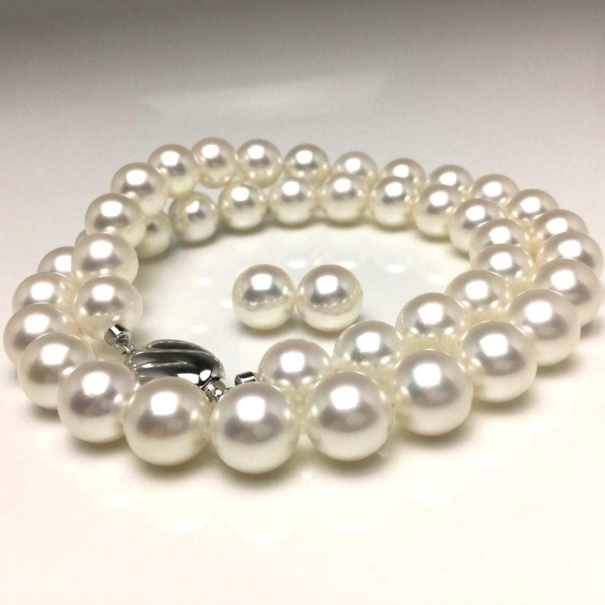 真珠 ネックレス パール オーロラ・花珠 無調色 アコヤ真珠 イヤリング or ピアス セット 9.0-9.5mm ホワイト(ナチュラルカラー) シルバー クラスップ 67135 イソワパール