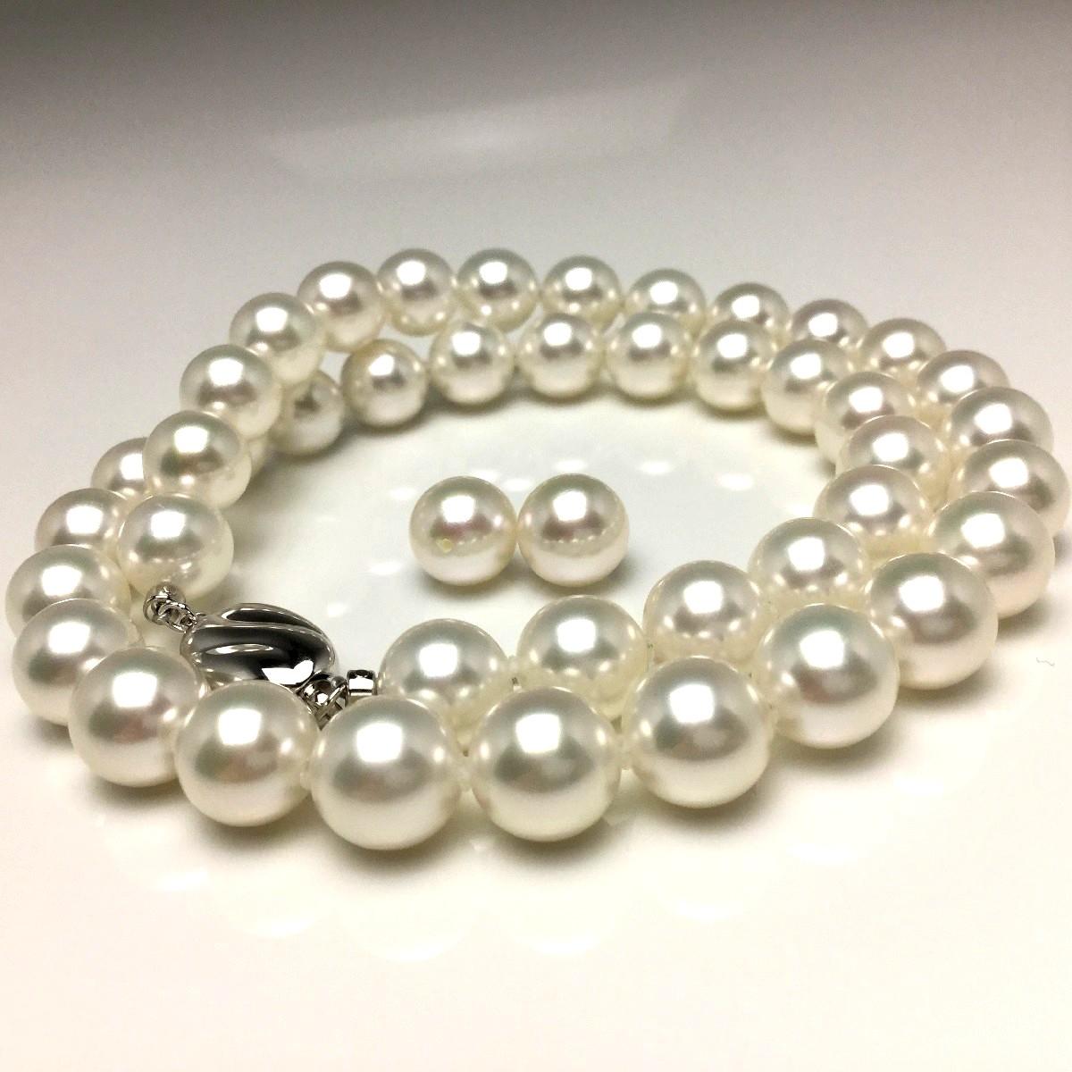真珠 ネックレス パール オーロラ・花珠 無調色 アコヤ真珠 イヤリング or ピアス セット 9.0-9.5mm ホワイト(ナチュラルカラー) シルバー クラスップ 67140 イソワパール