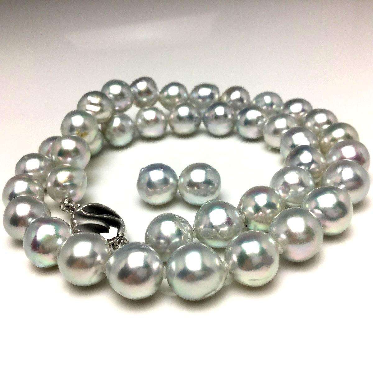 真珠 ネックレス パール ナチュラルカラー アコヤ真珠 イヤリング or ピアス セット 9.0-10.0mm シルバーブルー(ナチュラル) シルバー クラスップ 67159 イソワパール