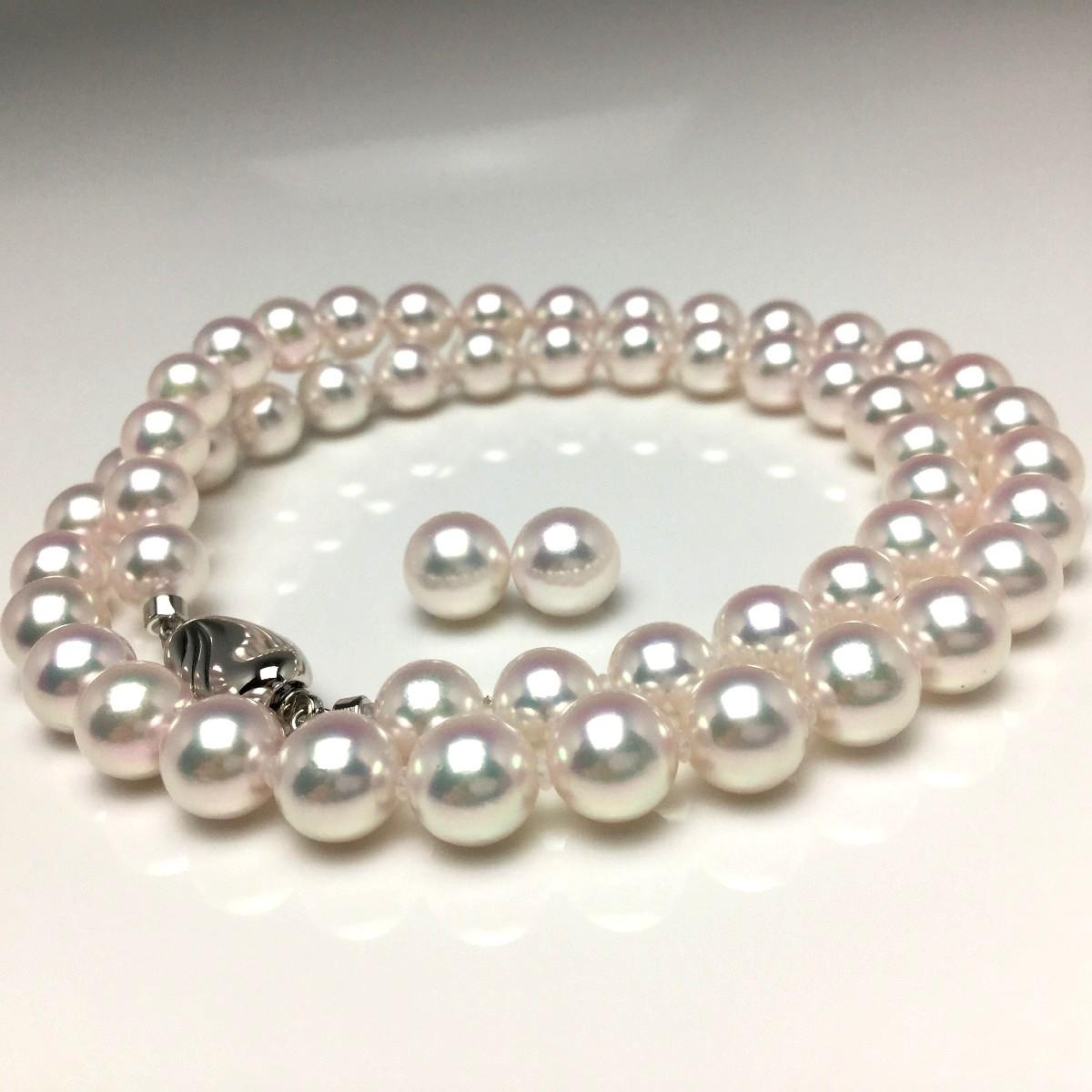 真珠 ネックレス パール オーロラ・天女 アコヤ真珠 イヤリング or ピアス セット 7.0-7.5mm ホワイトピンク シルバー クラスップ 67173 イソワパール