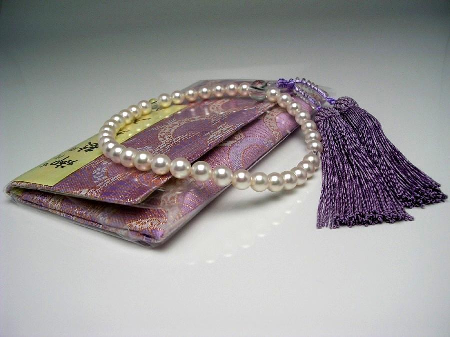 真珠 念珠(数珠) パール アコヤ真珠 7.0-7.5mm ホワイトピンク 正絹房 水晶(クォーツ) 53392 イソワパール