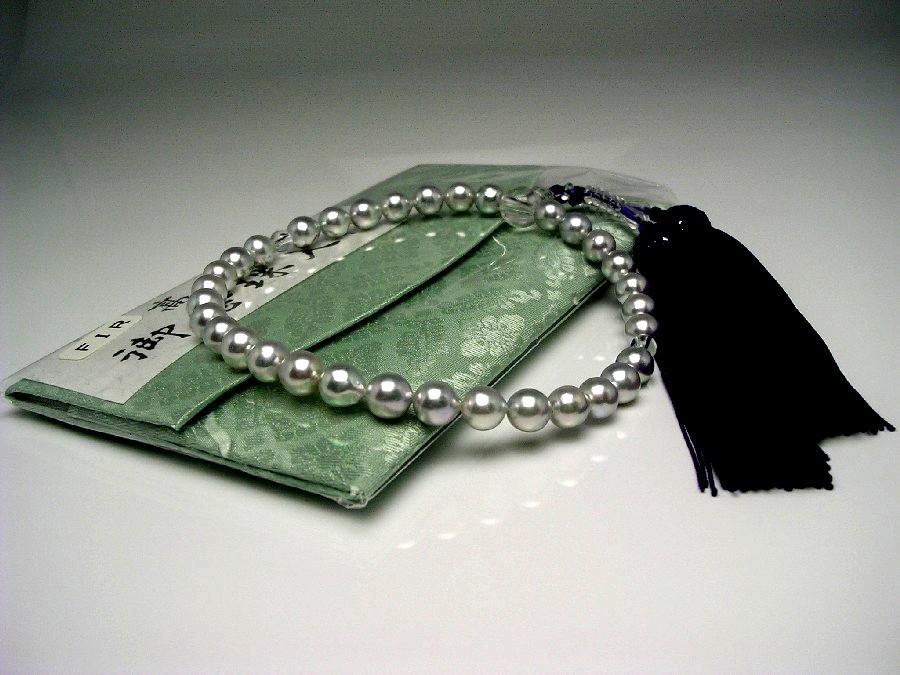 アコヤ真珠 念珠(数珠) 7.5-8mm ホワイトシルバーブルー(ナチュラル) 正絹房 水晶玉 水晶(クォーツ) 55631 イソワパール