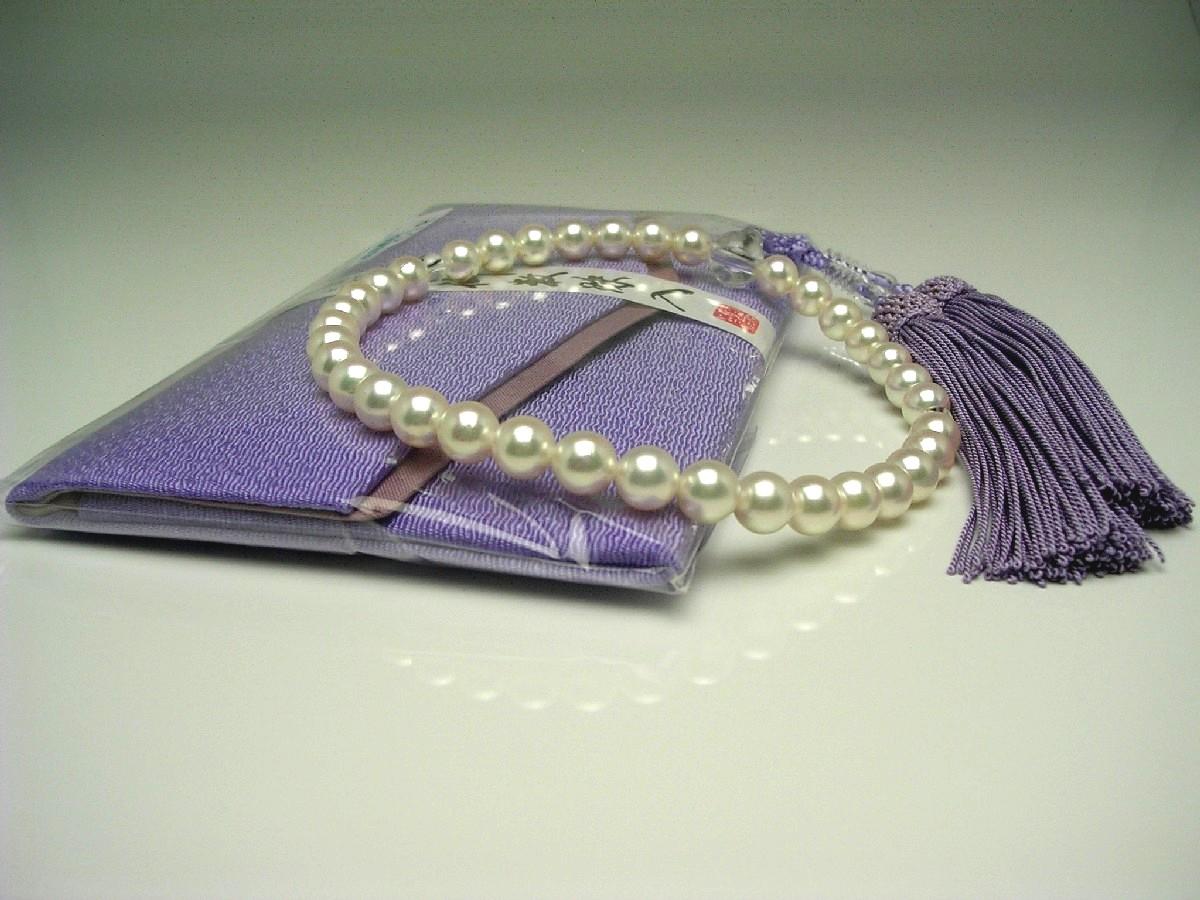 真珠 念珠(数珠) パール アコヤ真珠 7.5-8.0mm ホワイトピンク 正絹房 水晶(クォーツ) 64601 イソワパール