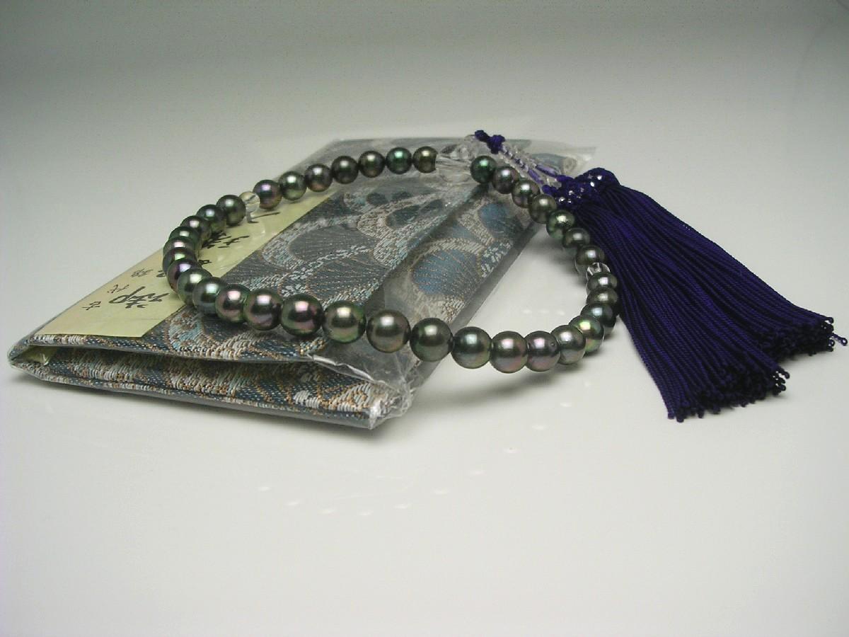 アコヤ真珠 念珠(数珠) 7.0-7.5mm ディープグリーン 正絹房 水晶玉 水晶(クォーツ) 65154 イソワパール