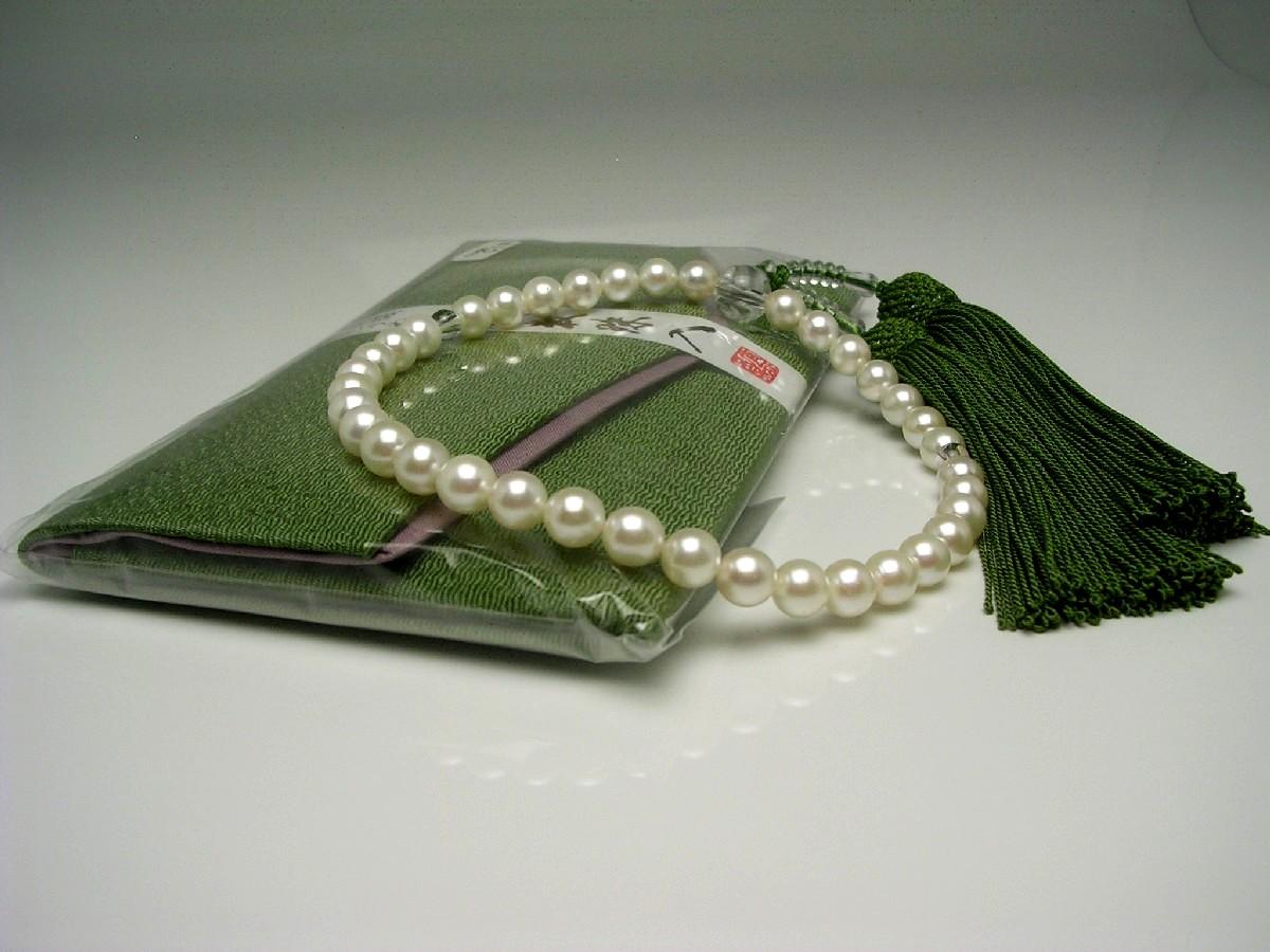 アコヤ真珠 念珠(数珠) 7.0-7.5mm ホワイト系ホワイトピンク 正絹房 水晶(クォーツ) 65257 イソワパール