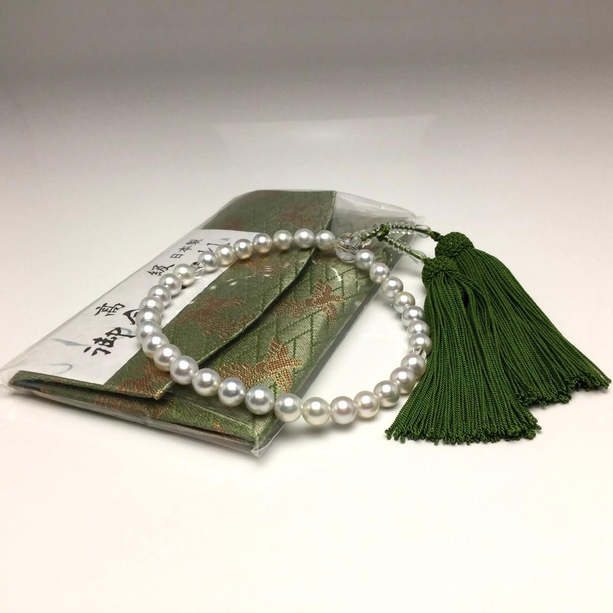 真珠 念珠(数珠) パール アコヤ真珠 7.5-8.0mm ホワイトシルバーブルー(ナチュラル) 正絹房 水晶(クォーツ) 66165 イソワパール
