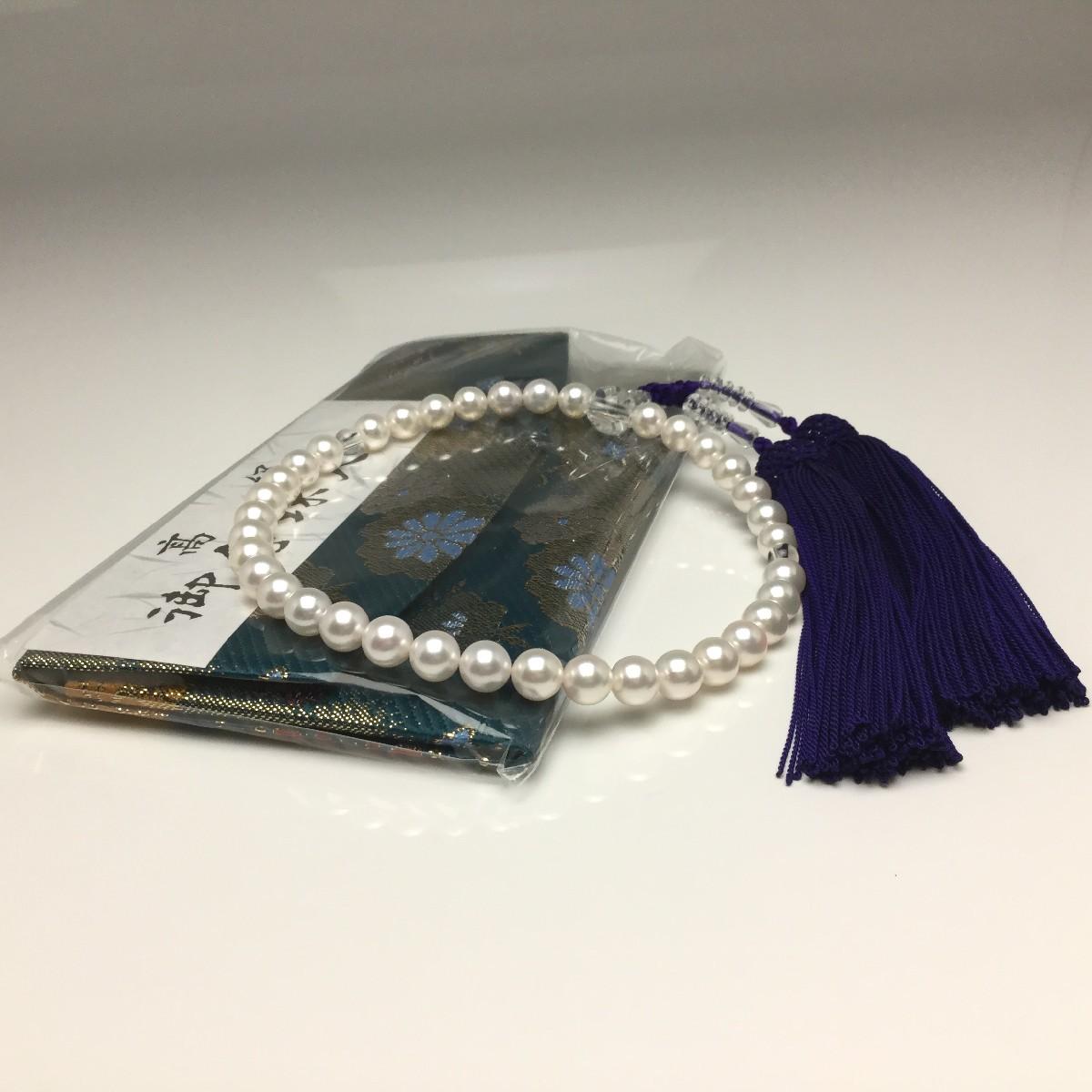 真珠 念珠(数珠) パール アコヤ真珠 7.0-7.5mm ホワイト 正絹房 水晶(クォーツ) 66513 イソワパール