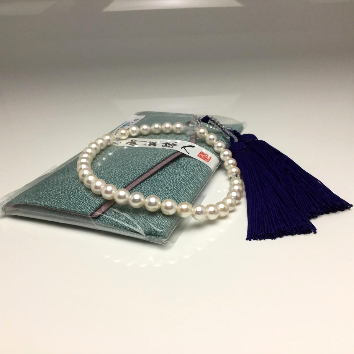 真珠 念珠(数珠) パール アコヤ真珠 7.5-8.0mm ホワイト 正絹房 水晶(クォーツ) 67128 イソワパール