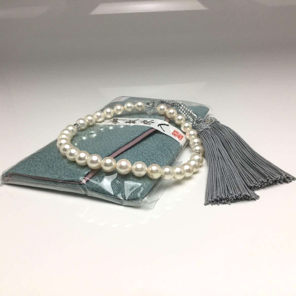 真珠 念珠(数珠) パール アコヤ真珠 8.0-8.5mm ホワイト 正絹房 水晶(クォーツ) 67202 イソワパール