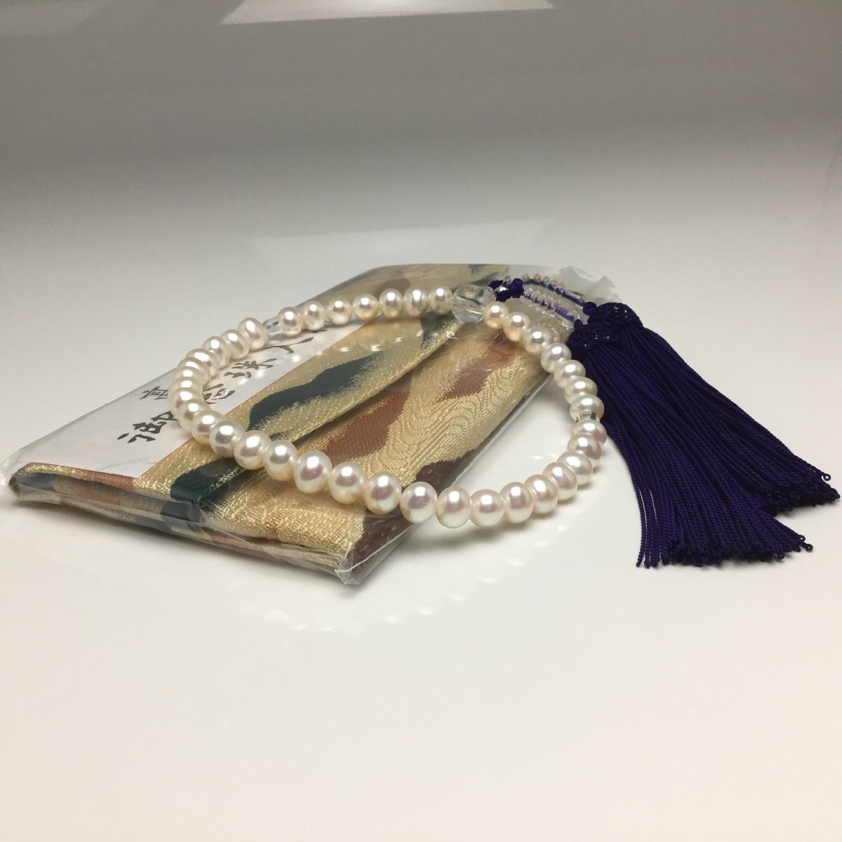 真珠 念珠(数珠) パール アコヤ真珠 7.5-8.0mm ホワイト 正絹房 水晶(クォーツ) 67273 イソワパール