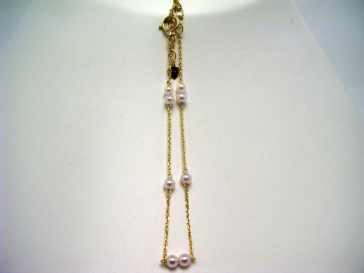 真珠 ブレスレット パール 母の日 アコヤ真珠 3.0-3.5mm ホワイトピンク K18 イエローゴールド チェーン 59018 イソワパール