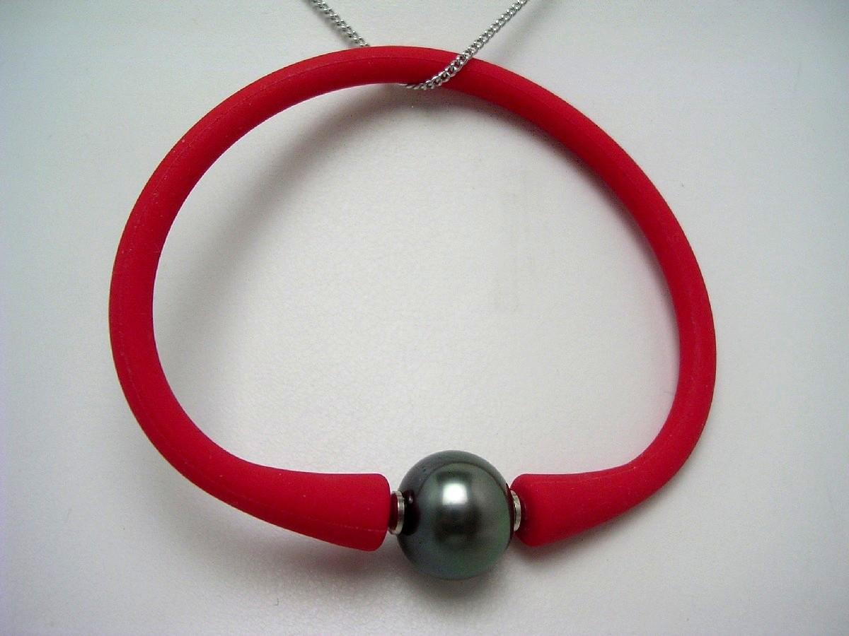 真珠 ブレスレット パール 黒蝶真珠 12.1mm ホワイトピンク ラバー 62590 イソワパール