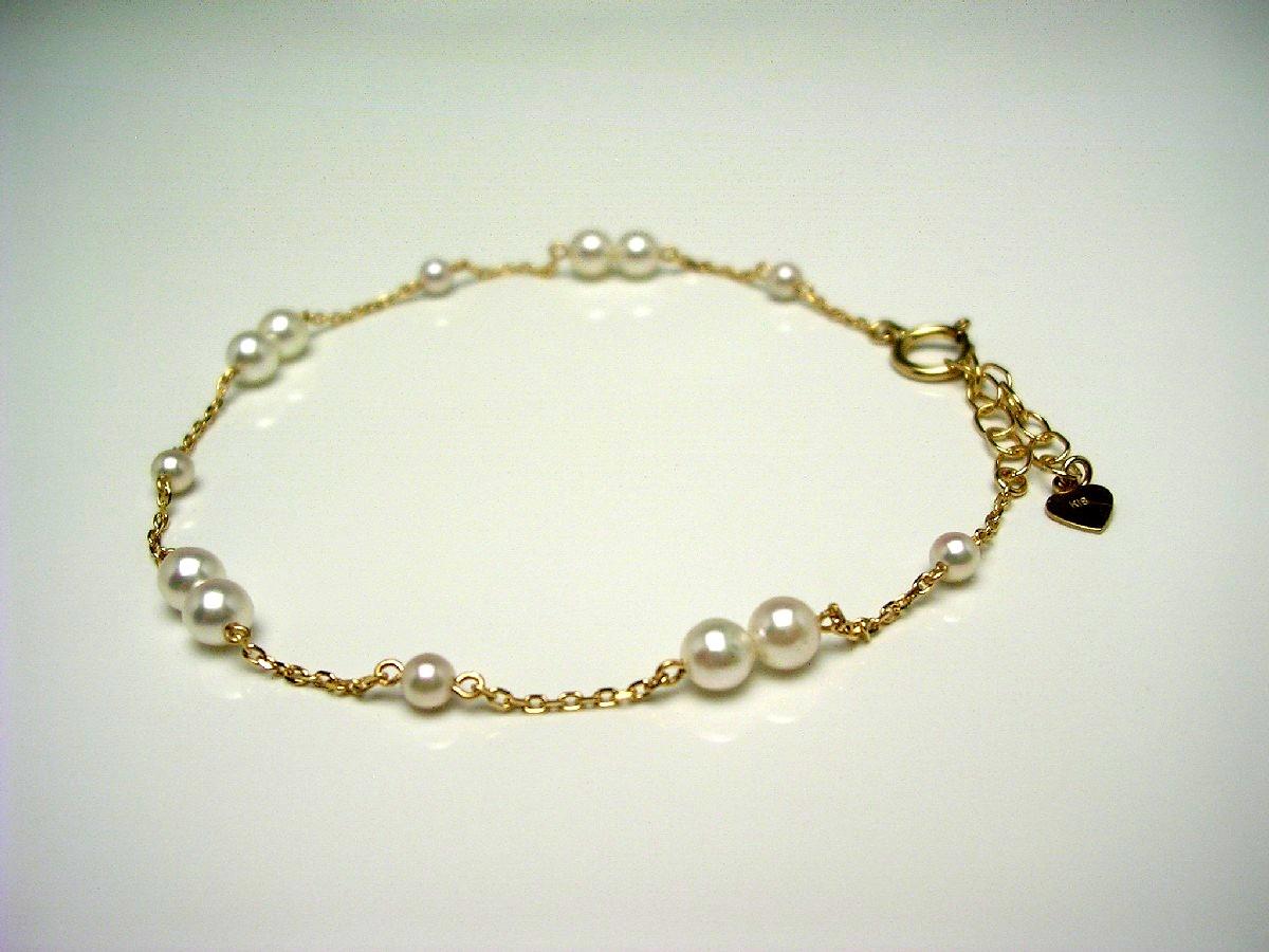 真珠 ブレスレット パール アコヤ真珠 2.9-3.9mm ホワイトピンク K18 イエローゴールド 65360 イソワパール