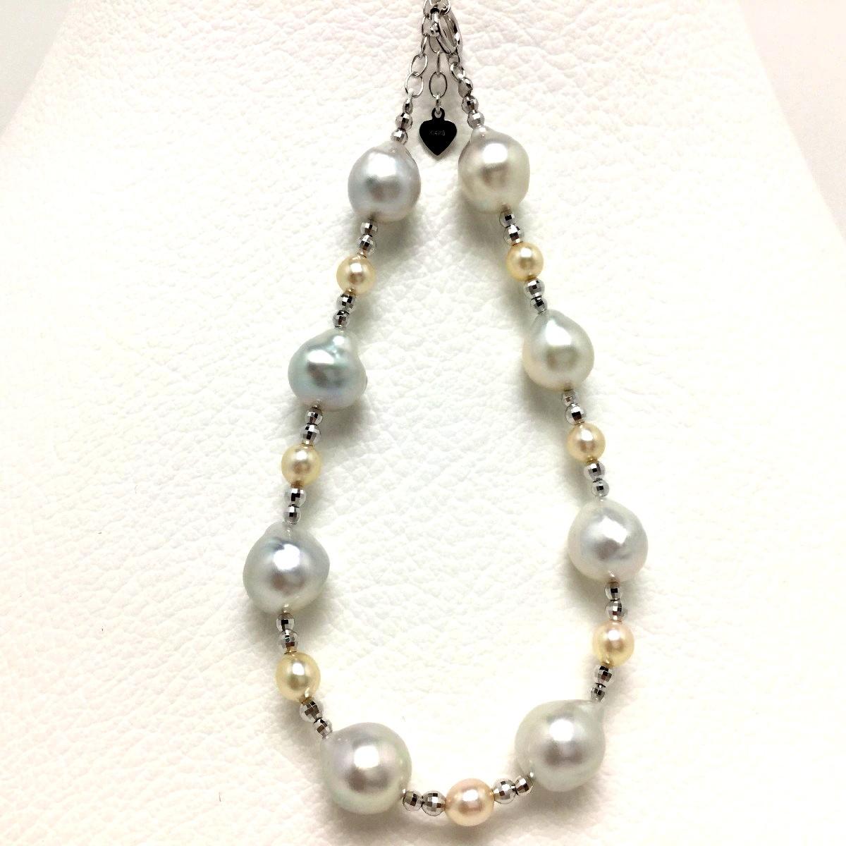真珠 ブレスレット パール アコヤ真珠 7.5-8.5mm 4.0-4,5mm マルチカラー シルバー アジャスター 66618 イソワパール