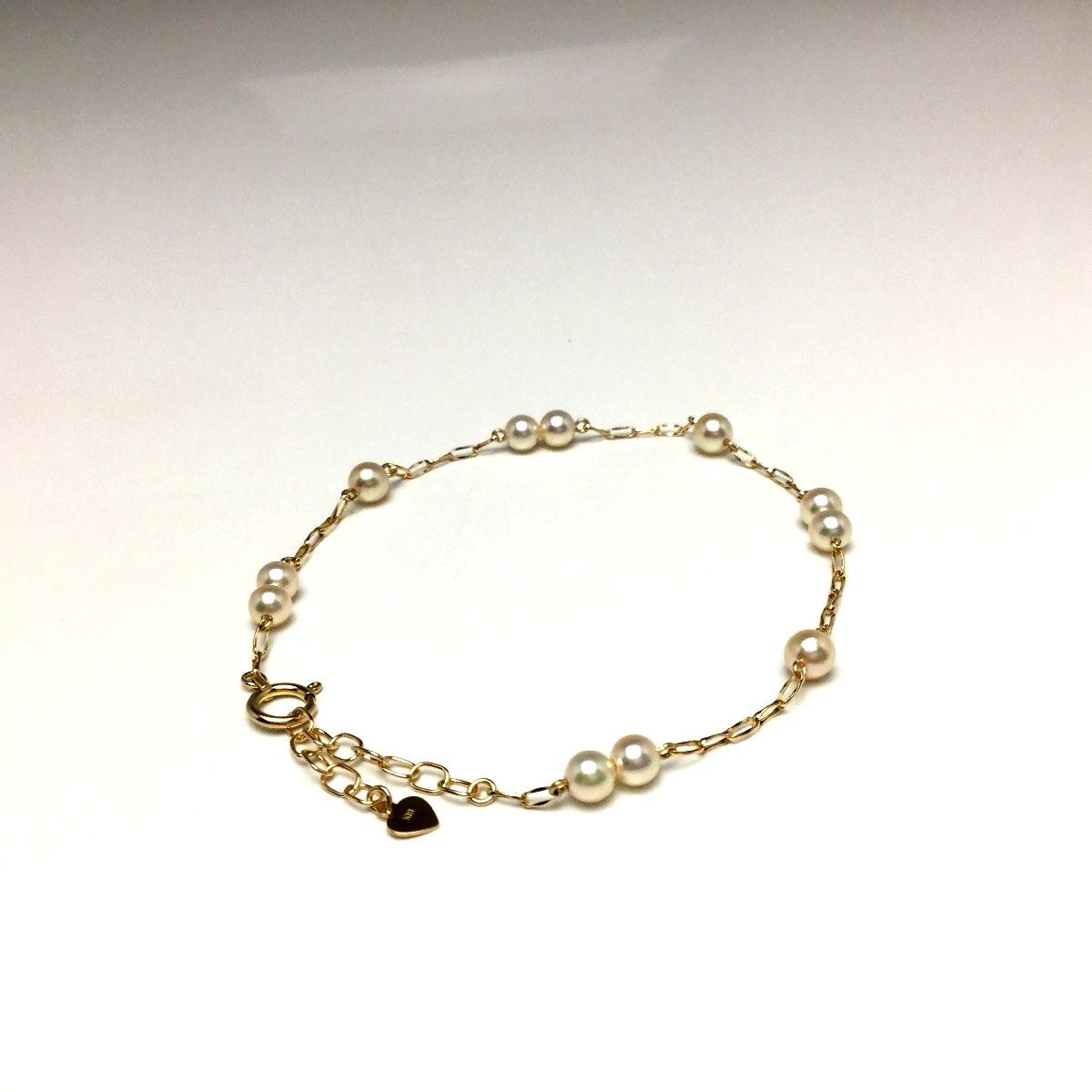 真珠 ブレスレット パール アコヤ真珠 4.0-4.5mm ホワイトピンク K18 イエローゴールド チェーン 66650 イソワパール