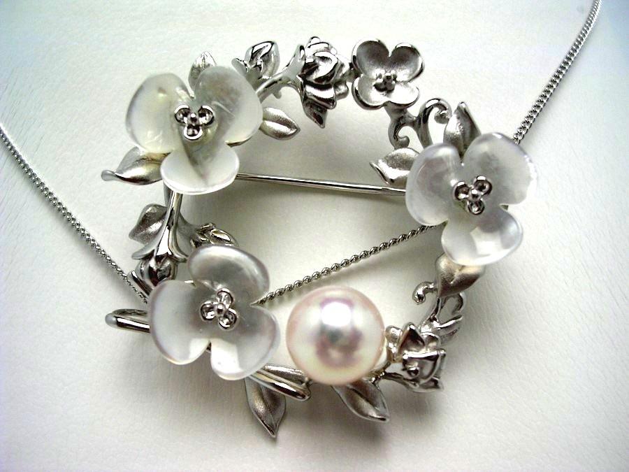 真珠 ブローチ パール アコヤ真珠 8.67mm ホワイトピンク シルバー シェル 植物 52871 イソワパール